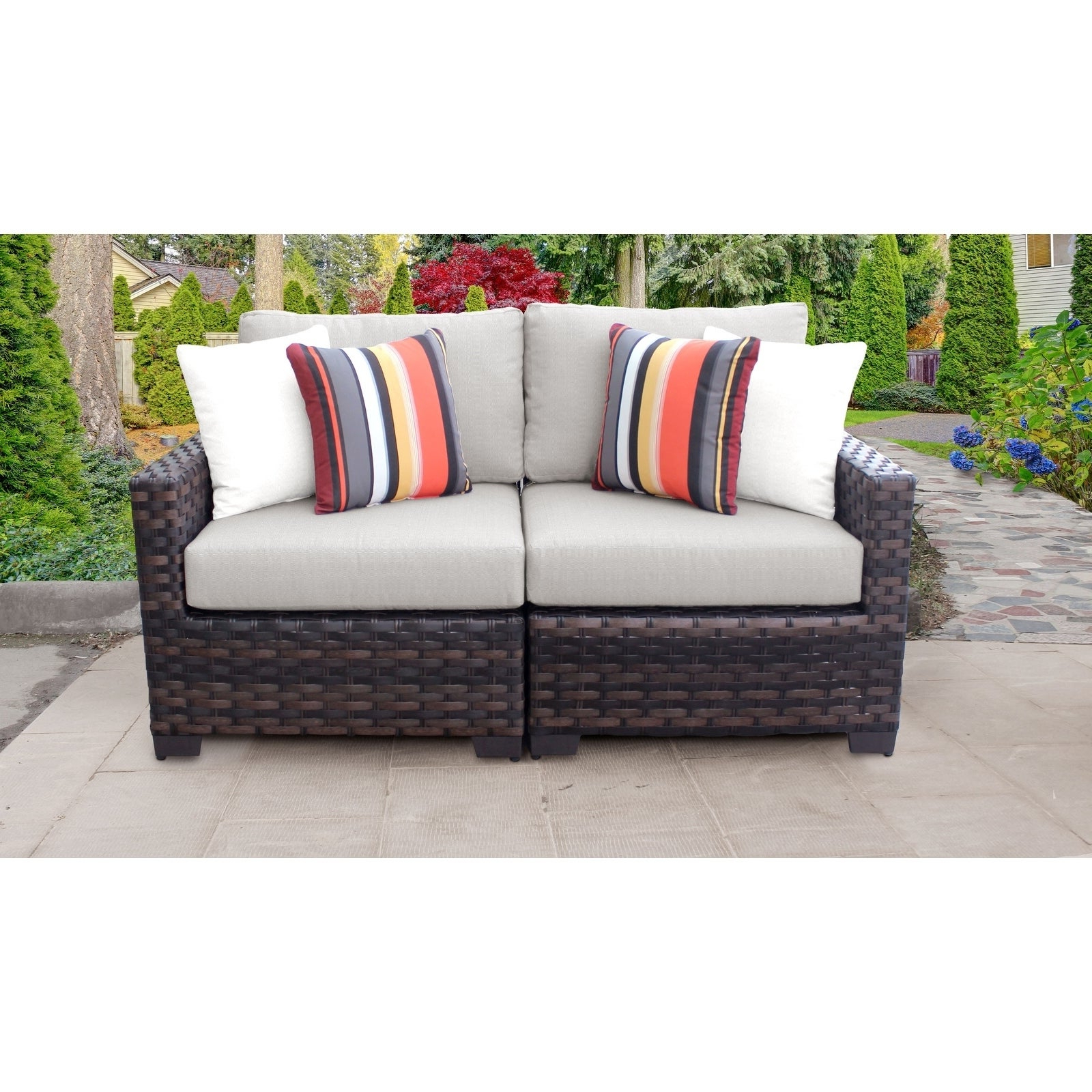 Oreland Patio Sofas With Cushions Pertaining To Most Recent Kathy Ireland River Brook 2 Piece Outdoor Wicker Patio Furniture Set 02A (View 14 of 20)