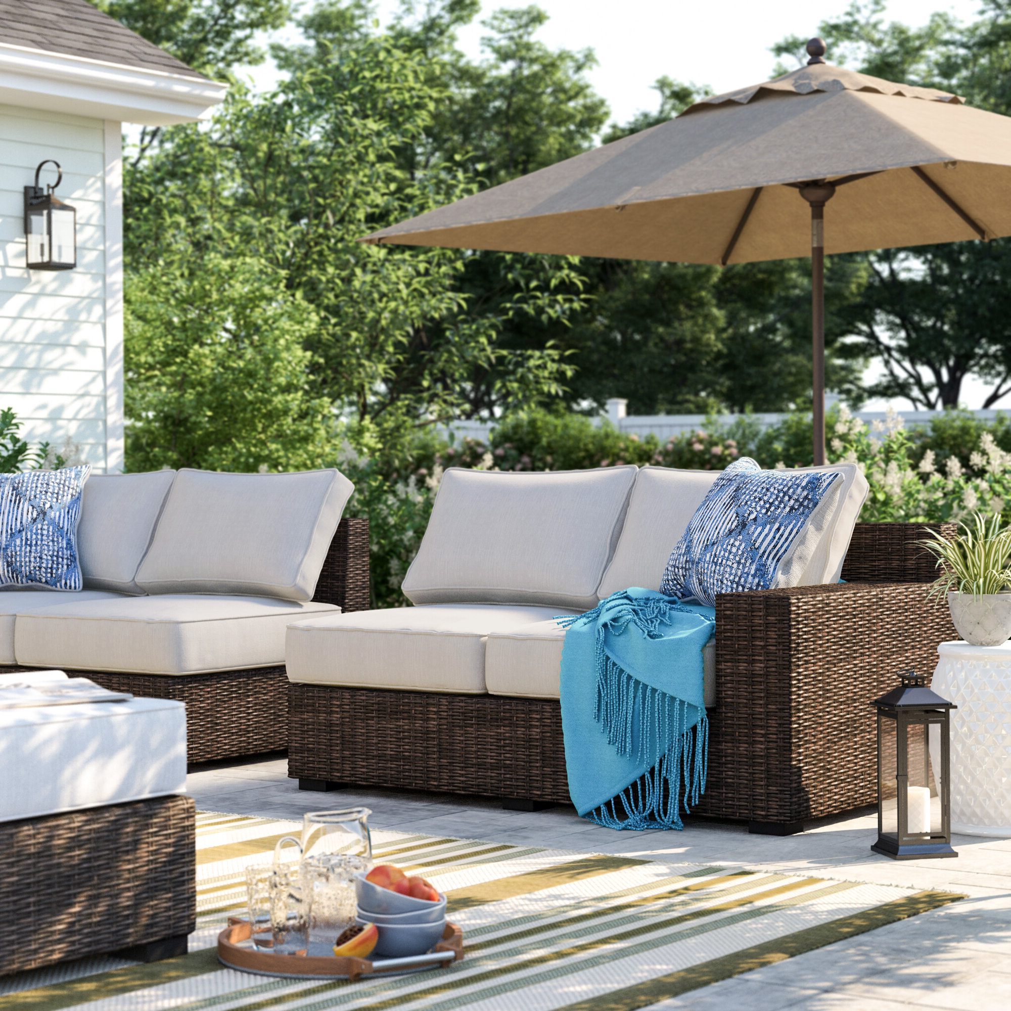 Oreland Patio Sofas With Cushions Throughout Famous Oreland Loveseat With Cushions (View 16 of 20)