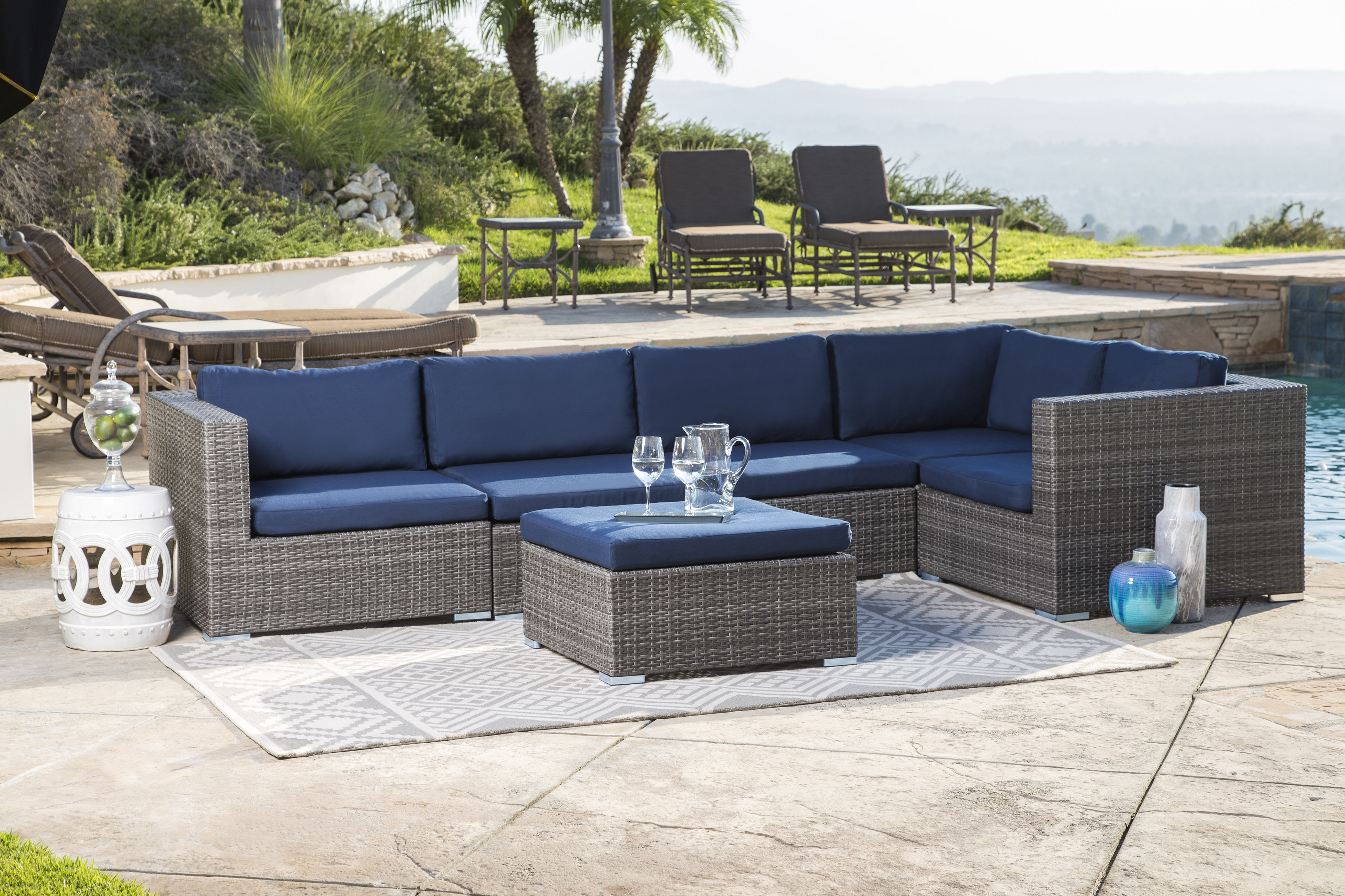 Ostrowski Outdoor Wicker Patio Sectional With Cushions Within Well Liked Keiran Patio Sofas With Cushions (View 6 of 20)