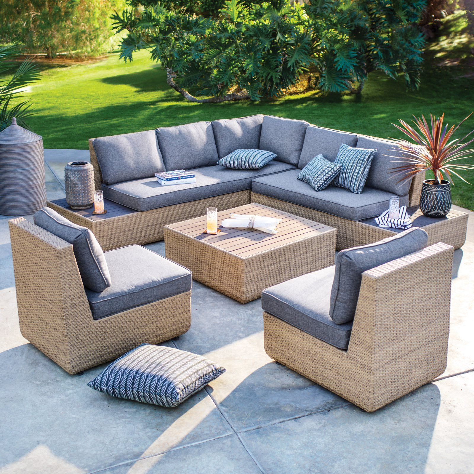 Outdoor Belham Living Luciana Villa All Weather 5 Piece Throughout Popular Rowley Patio Sofas Set With Cushions (View 8 of 20)