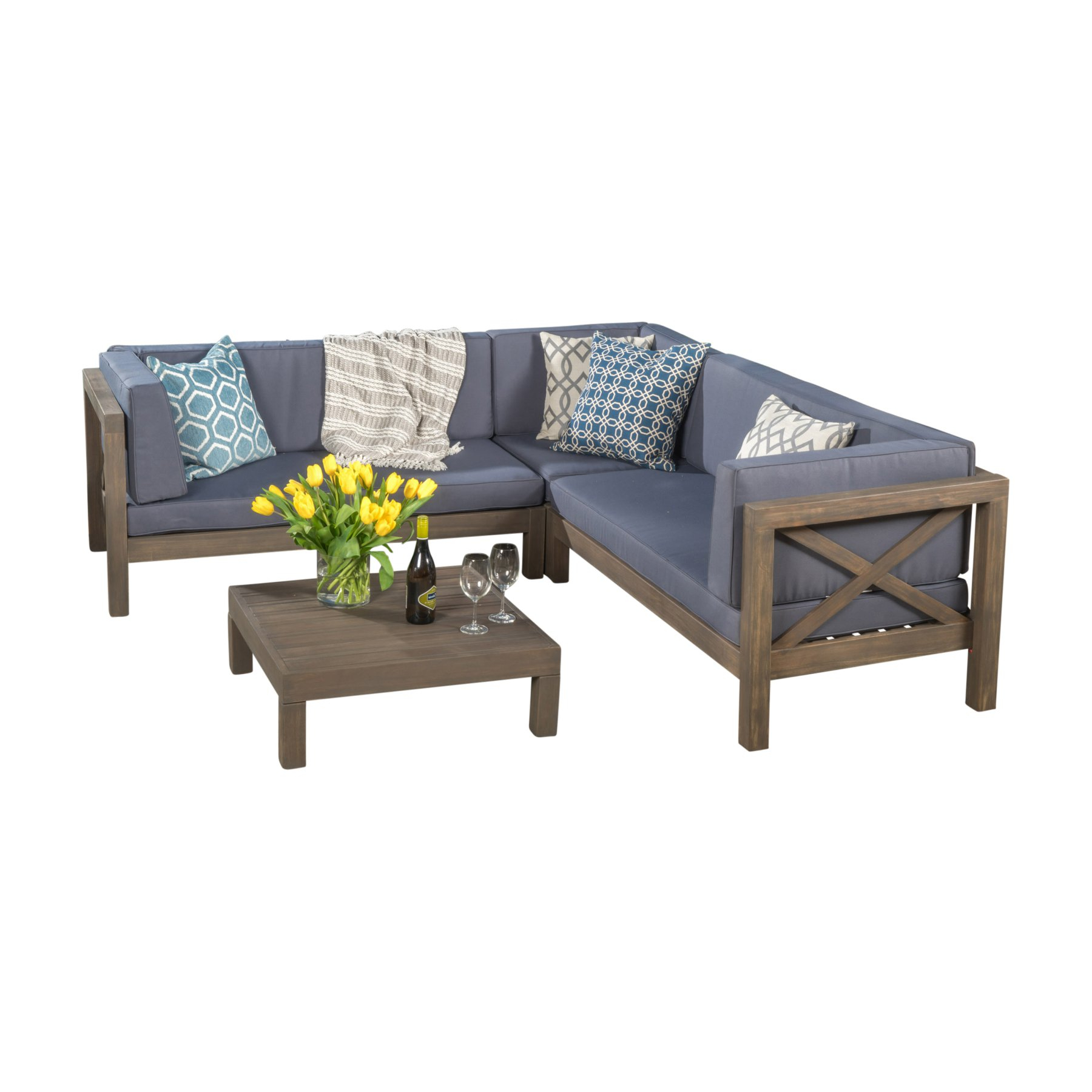 Outdoor Best Selling Home Brava Acacia Wood 6 Piece Pertaining To Most Recently Released Ellison Patio Sectionals With Cushions (View 16 of 20)