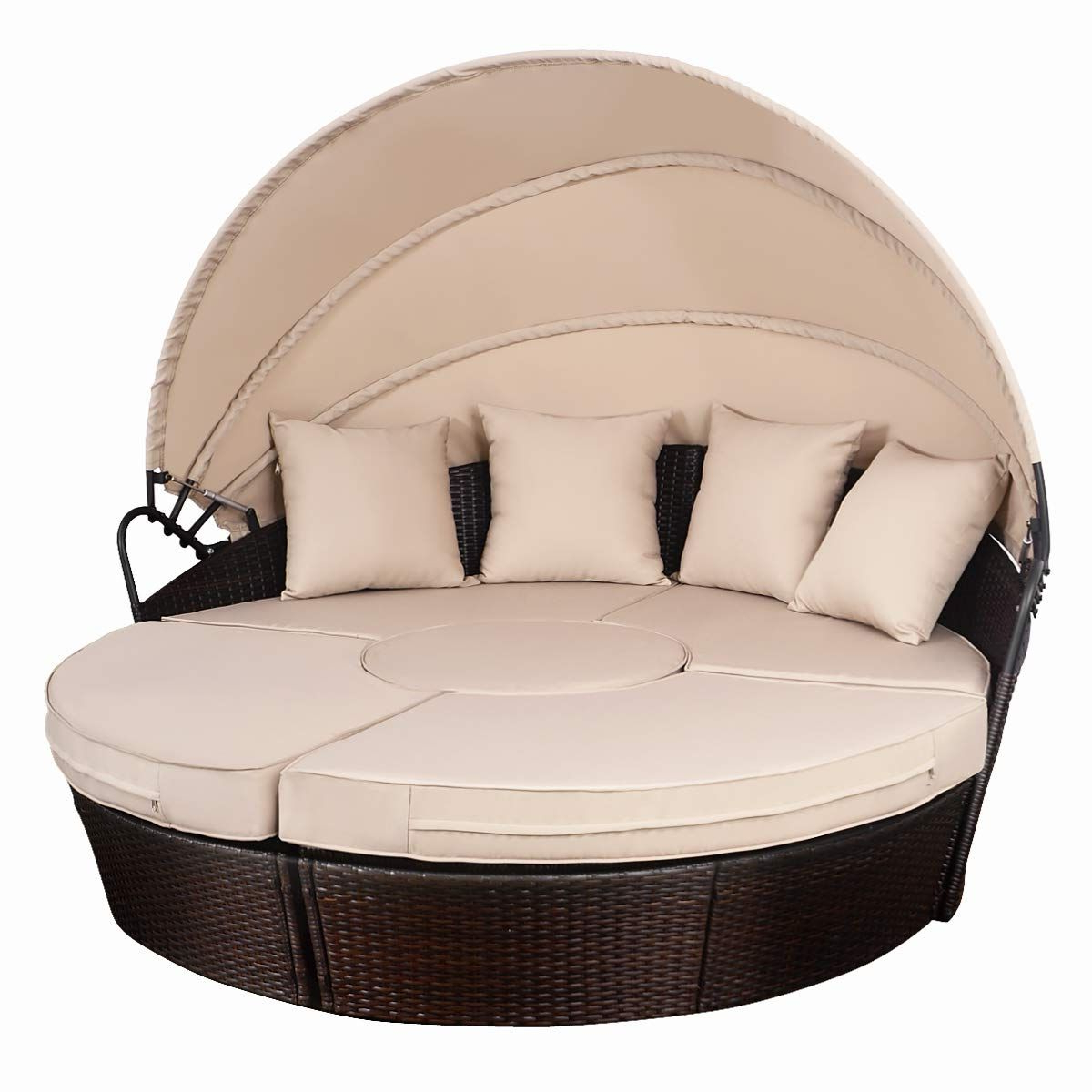 Outdoor Patio Rattan Retractable Canopy Daybed In 2019 For Most Recently Released Gilbreath Daybeds With Cushions (View 16 of 20)
