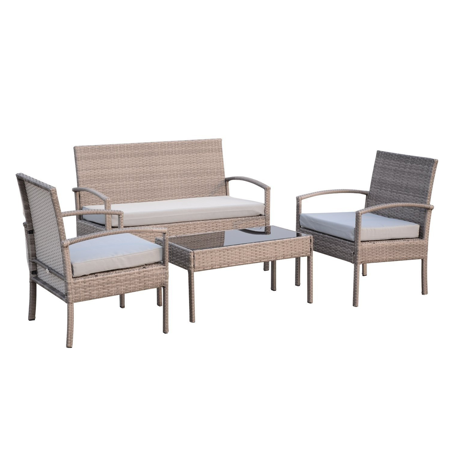 Outsunny 4 Piece Outdoor Rattan Wicker Patio Conversation For Newest Mullenax Outdoor Loveseats With Cushions (Gallery 11 of 20)