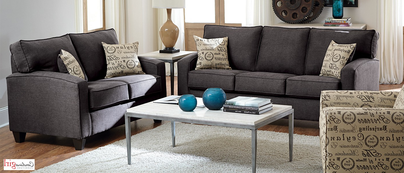 Owens Loveseats With Cushion Throughout Latest Jitterbug Gunmetal Sofa And Loveseat (Gallery 13 of 20)