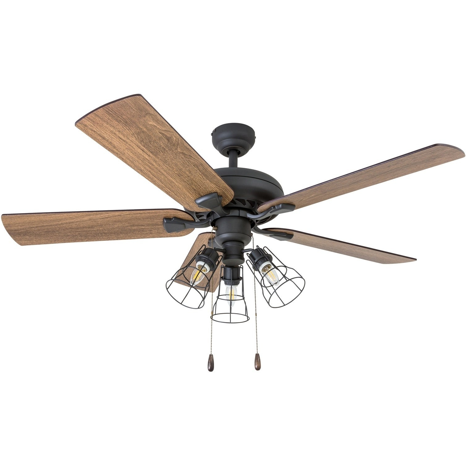 """Paige 3 Blade Led Ceiling Fans In Preferred Prominence Home Lincoln Woods Farmhouse 52"""" Aged Bronze Led Ceiling Fan,  Cage Industrial 3 Light (View 11 of 20)"""