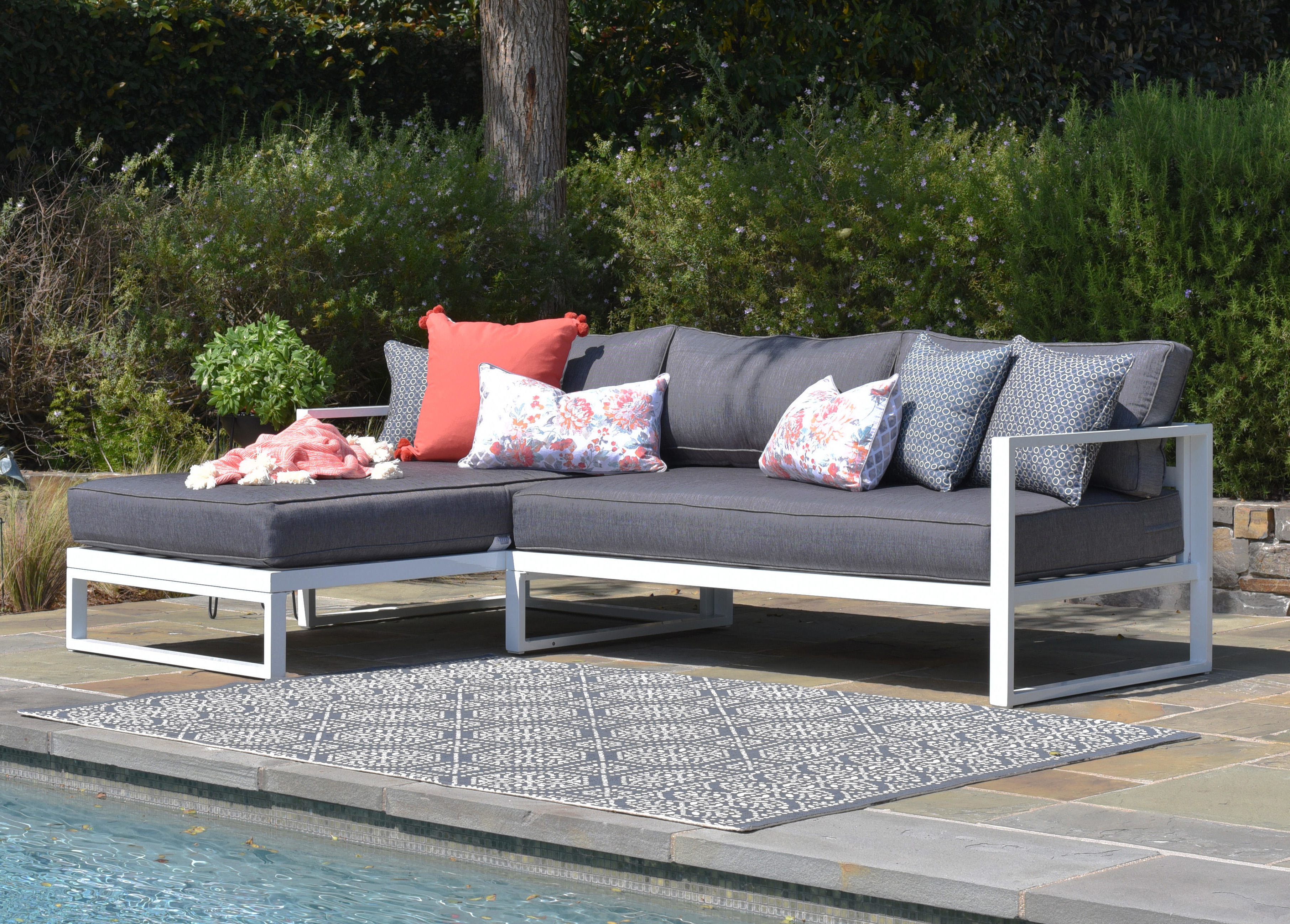 Paloma Sectional With Cushions For Fashionable Jamarion 4 Piece Sectionals With Sunbrella Cushions (View 13 of 20)