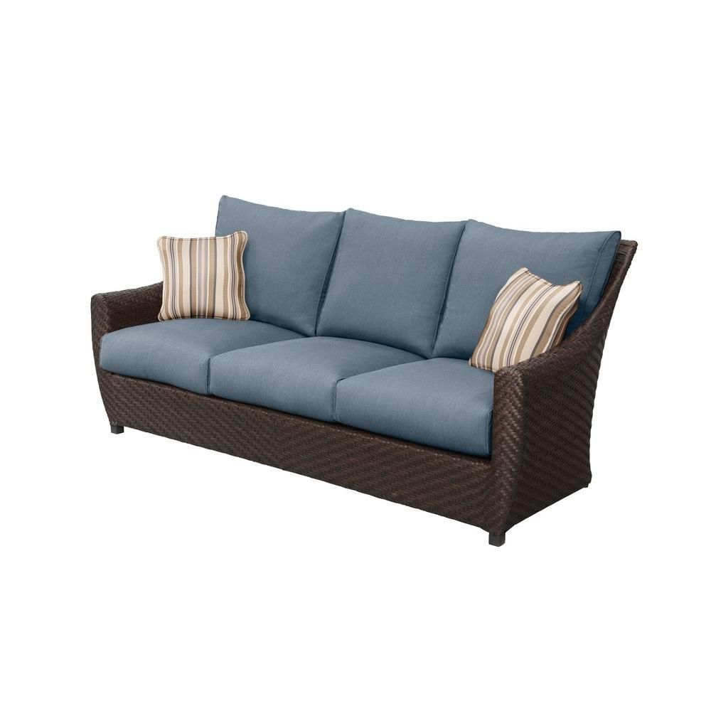 Pantano Loveseats With Cushions Inside Well Known Brown Jordan Highland Patio Sofa With Sparrow Cushions And (Gallery 12 of 20)