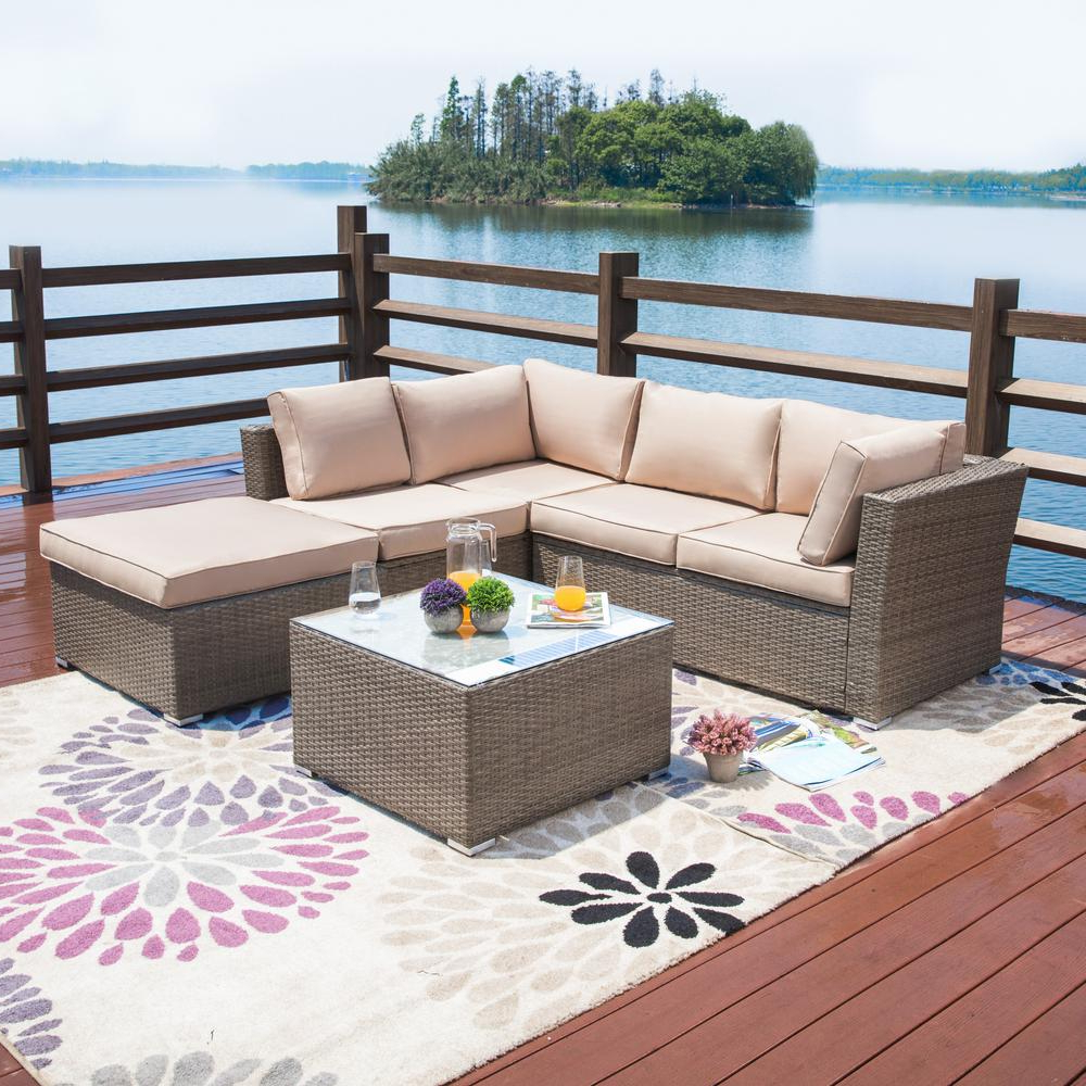 Patio Festival 4 Piece Wicker Outdoor Sectional Set With Beige Cushions Throughout Current Nolen Patio Sectionals With Cushions (View 16 of 20)