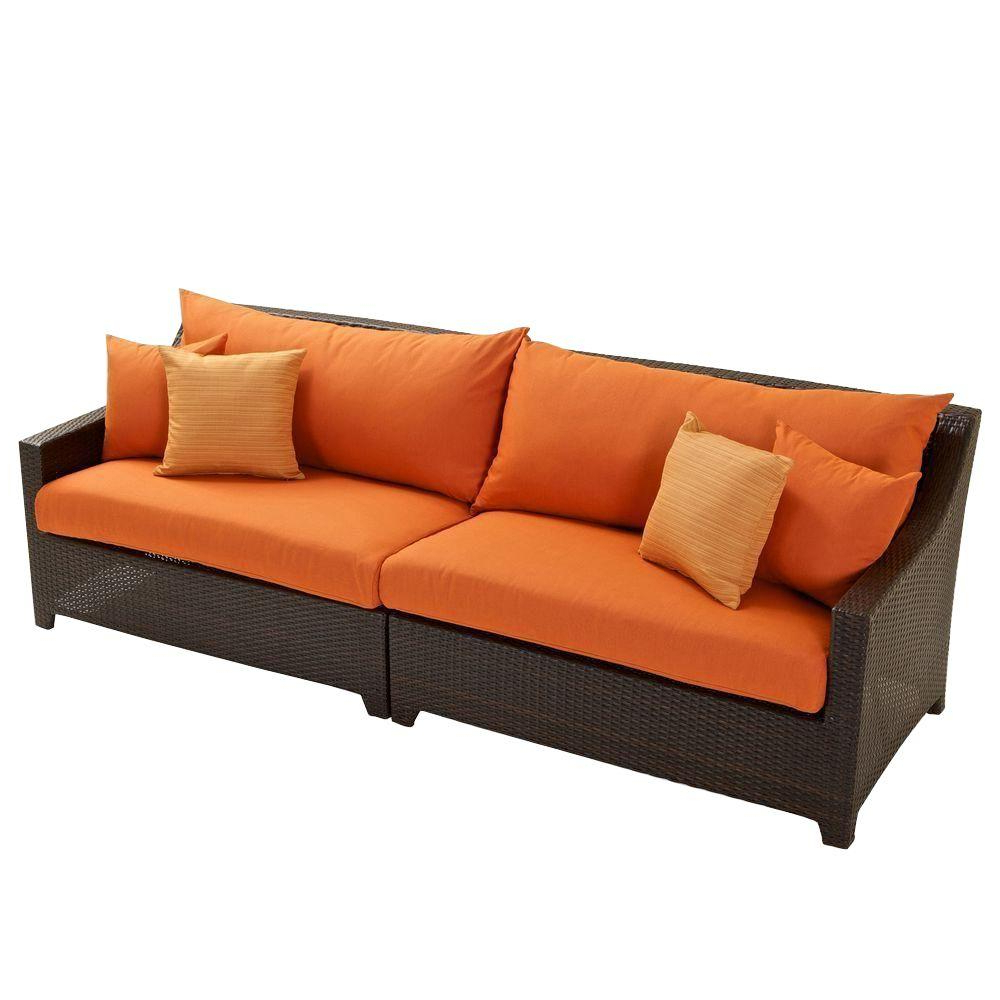 Patio Sofas With Cushions For Well Known Rst Brands Deco Patio Sofa With Tikka Orange Cushions (View 11 of 20)