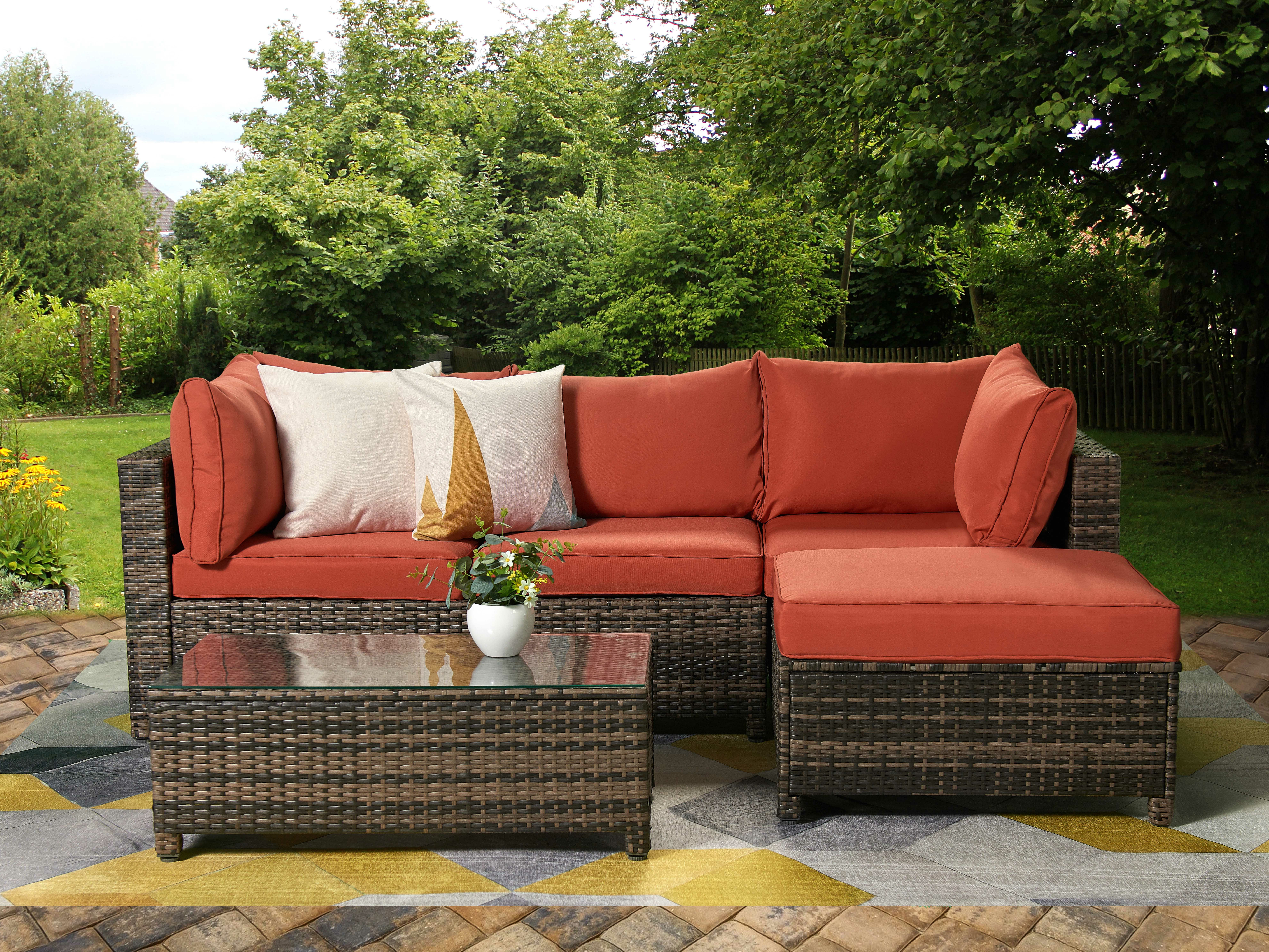 Patio Sofas With Cushions In Well Known Roni Patio Sectional With Cushions (View 12 of 20)