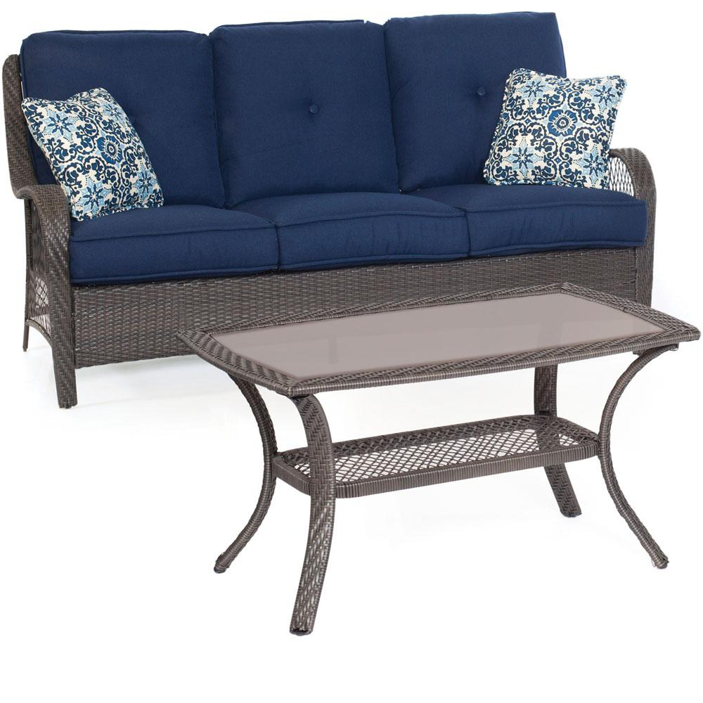 Patio Sofas With Cushions Intended For Most Popular Cambridge Merritt 2 Piece All Weather Patio Seating Set With Navy Cushions (View 13 of 20)