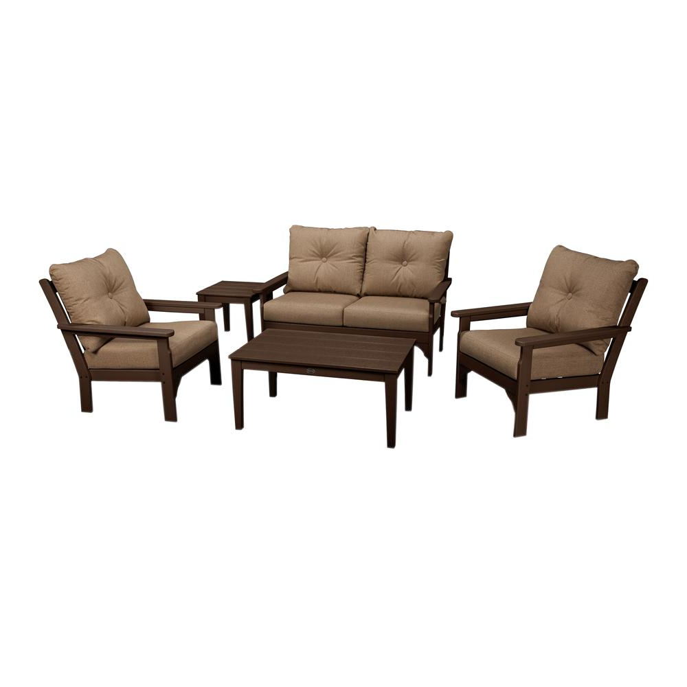 Polywood Vineyard Mahogany 5 Piece Plastic Patio Deep Seating Set With Sunbrella Sesame Cushions Inside Favorite Vineyard Deep Seating Sofas (View 8 of 20)