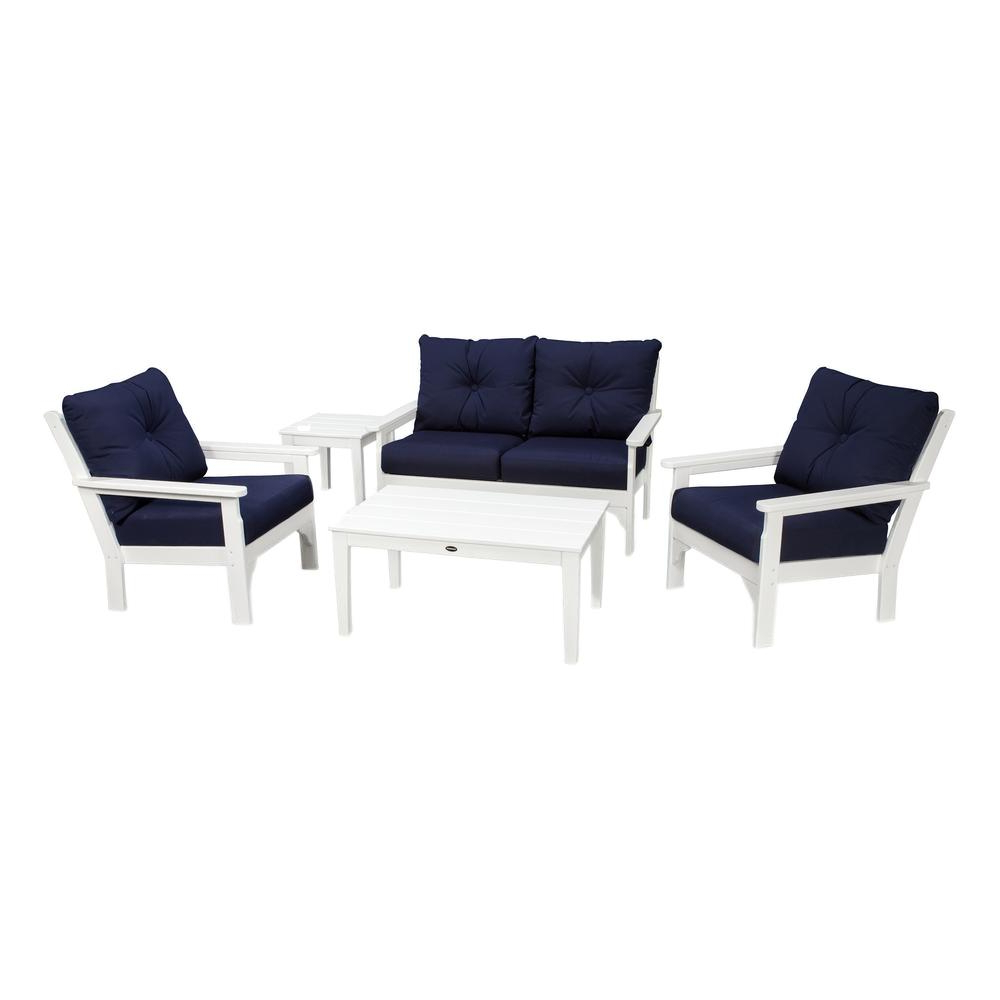 Polywood Vineyard White 5 Piece Plastic Patio Deep Seating Set With  Sunbrella Navy Cushions Within Famous Vineyard Deep Seating Sofas (View 10 of 20)