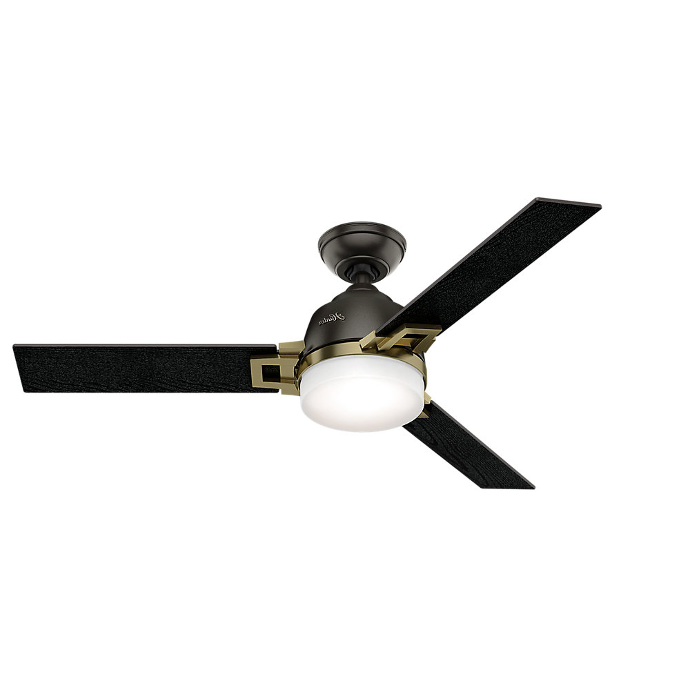 """Popular 48"""" Leoni 3 Blade Ceiling Fan With Remote And Light Kit Regarding Hedin 3 Blade Hugger Ceiling Fans (Gallery 20 of 20)"""