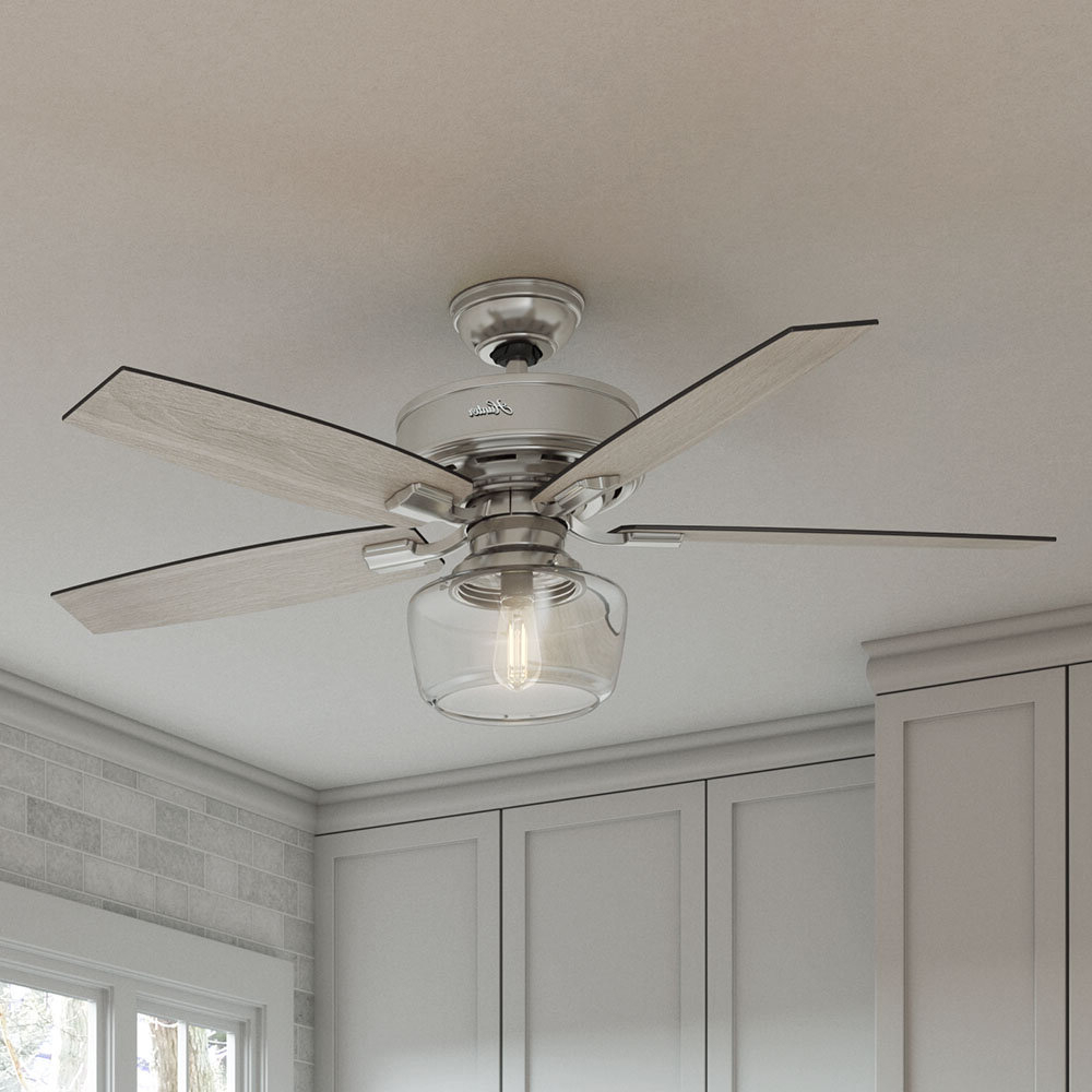 """Popular 52"""" Bennett 5 Blade Led Ceiling Fan With Remote, Light Kit Included Intended For Crestfield 5 Blade Led Ceiling Fans (View 17 of 20)"""