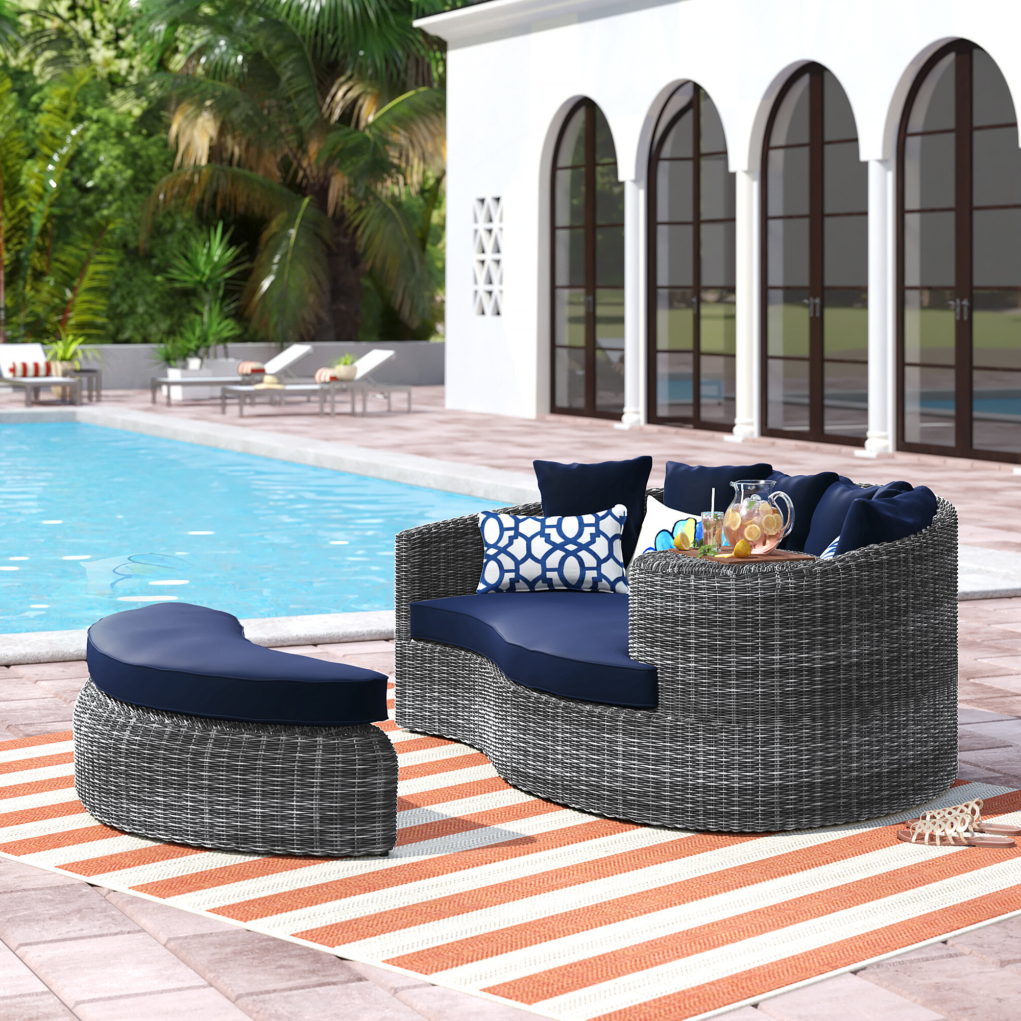Popular Brayden Studio Keiran Patio Daybed With Cushions & Reviews With Lammers Outdoor Wicker Daybeds With Cushions (View 18 of 20)