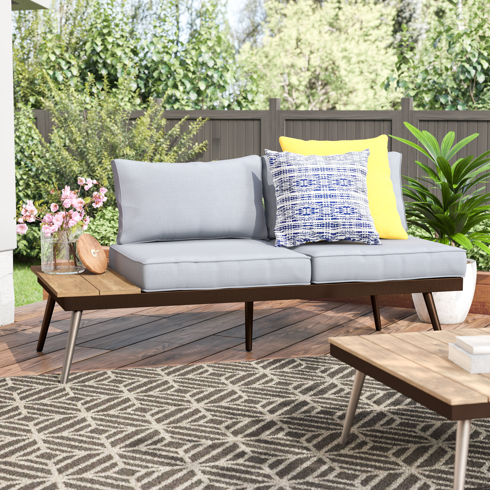 Popular Bullock Outdoor Wooden Loveseats With Cushions In Bendale Contemporary Loveseat With Cushion (View 13 of 20)