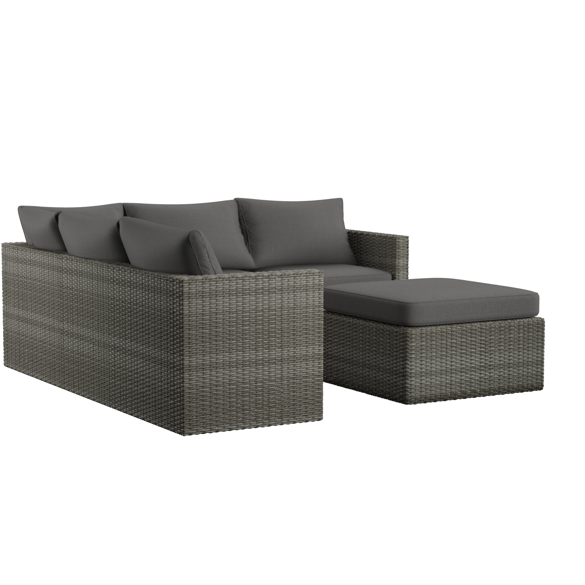 Popular Camak Patio Sofas With Cushions Inside Lorentzen Patio Sectional With Cushions (View 17 of 20)