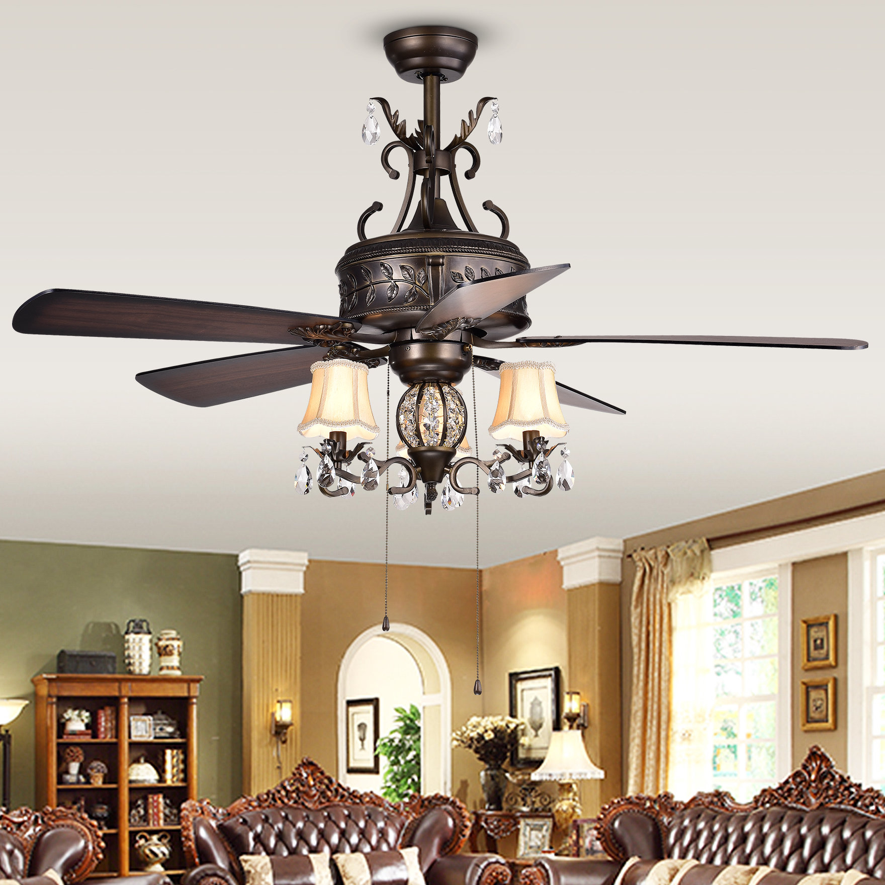"Popular Dunaghy 5 Blade Ceiling Fans Throughout 52"" Sayre 5 Blade Ceiling Fan Light Kit Included (View 16 of 20)"