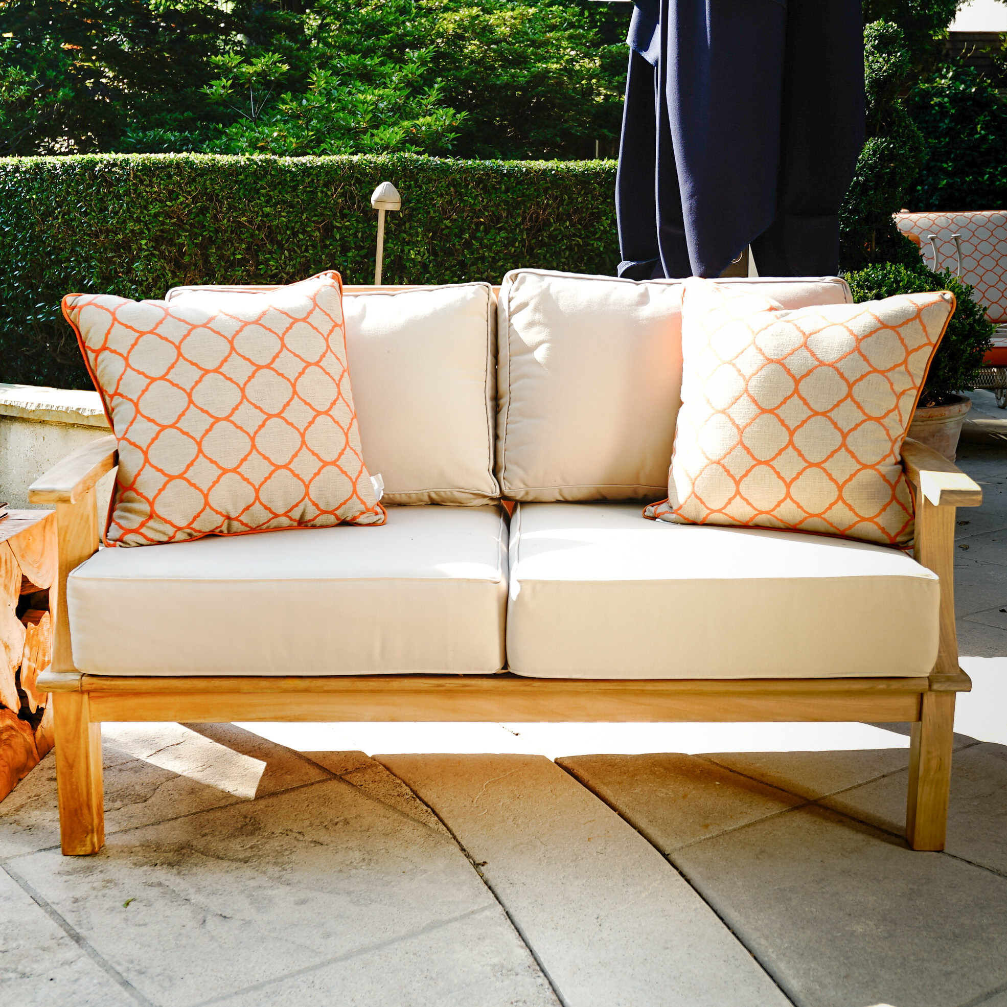 Popular Galvan Outdoor Teak Loveseat With Cushion Regarding Mansfield Teak Loveseats With Cushion (Gallery 4 of 20)