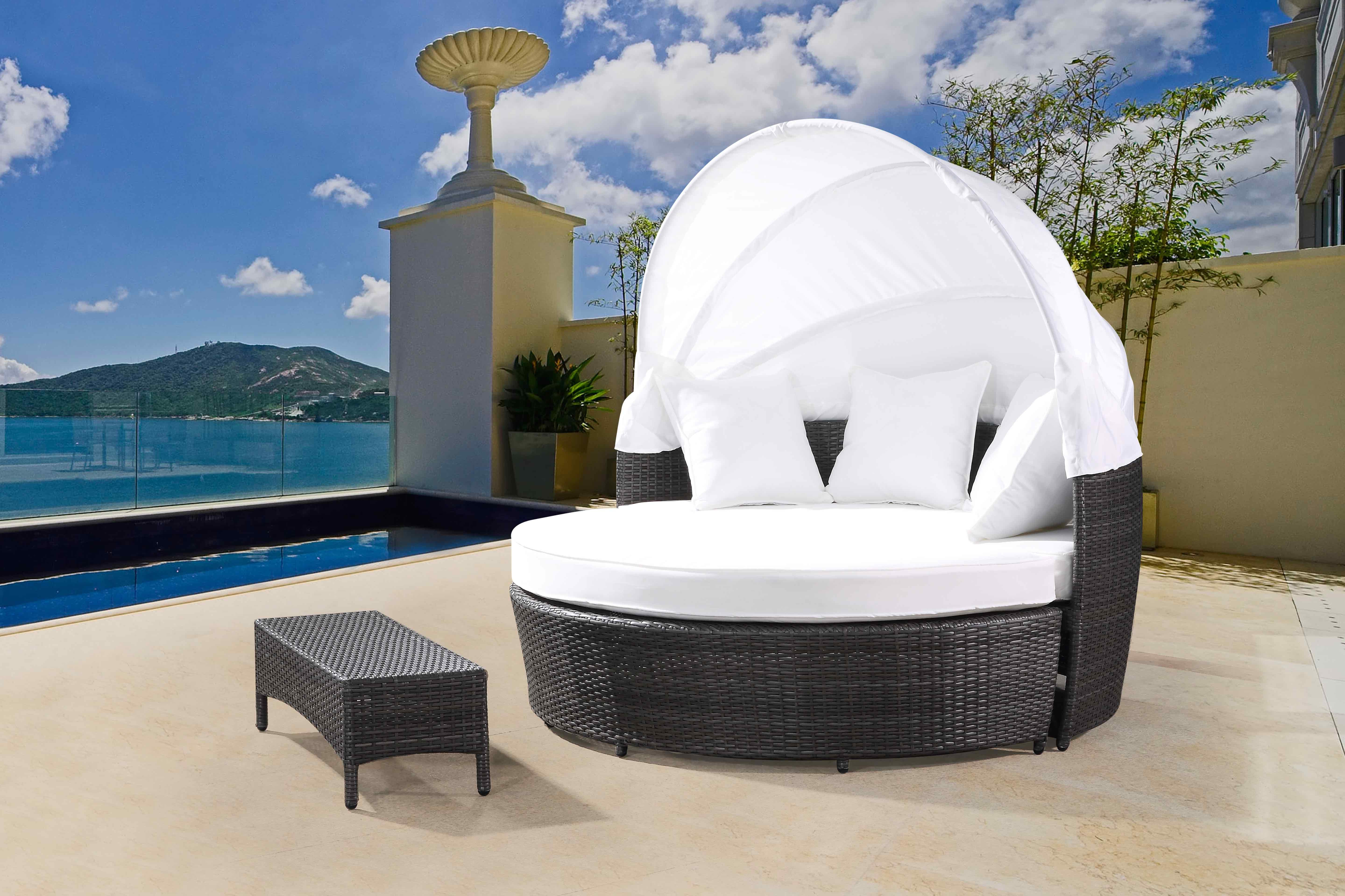 Popular Harlow Patio Daybeds With Cushions With Carrasco Patio Daybed With Cushions (View 17 of 20)