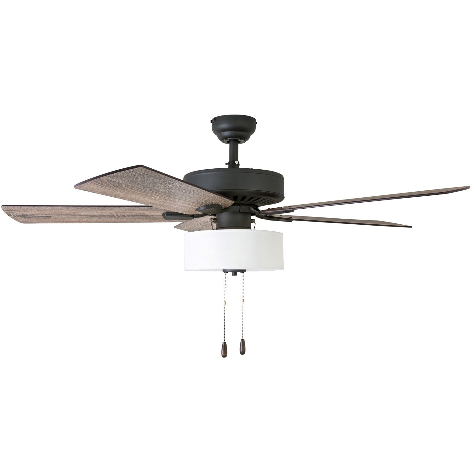 "Popular Hemsworth 4 Blade Ceiling Fans With Regard To Prominence Home Canoe Ridge Farmhouse 52"" Aged Bronze Led Ceiling Fan,  Linen Drum Light (View 16 of 20)"