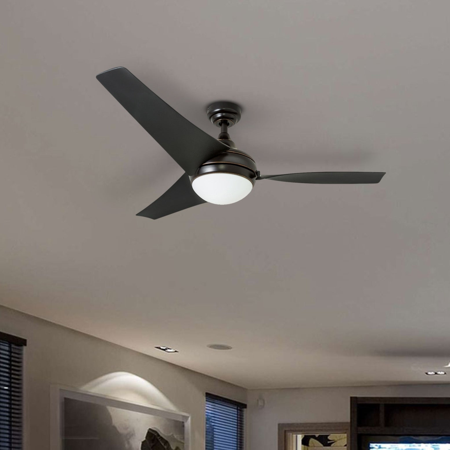 "Popular Honeywell Rio 52"" Oil Rubbed Bronze Contemporary Led Ceiling Fan, 3 Blade  With Remote With Lindsay 5 Blade Ceiling Fans (Gallery 13 of 20)"
