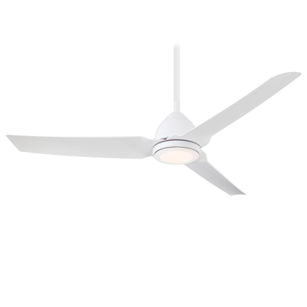 Popular Java 3 Blade Outdoor Ceiling Fans Throughout Java 1 Led Light 54 Inch Outdoor Ceiling Fan In Flat White (View 14 of 20)