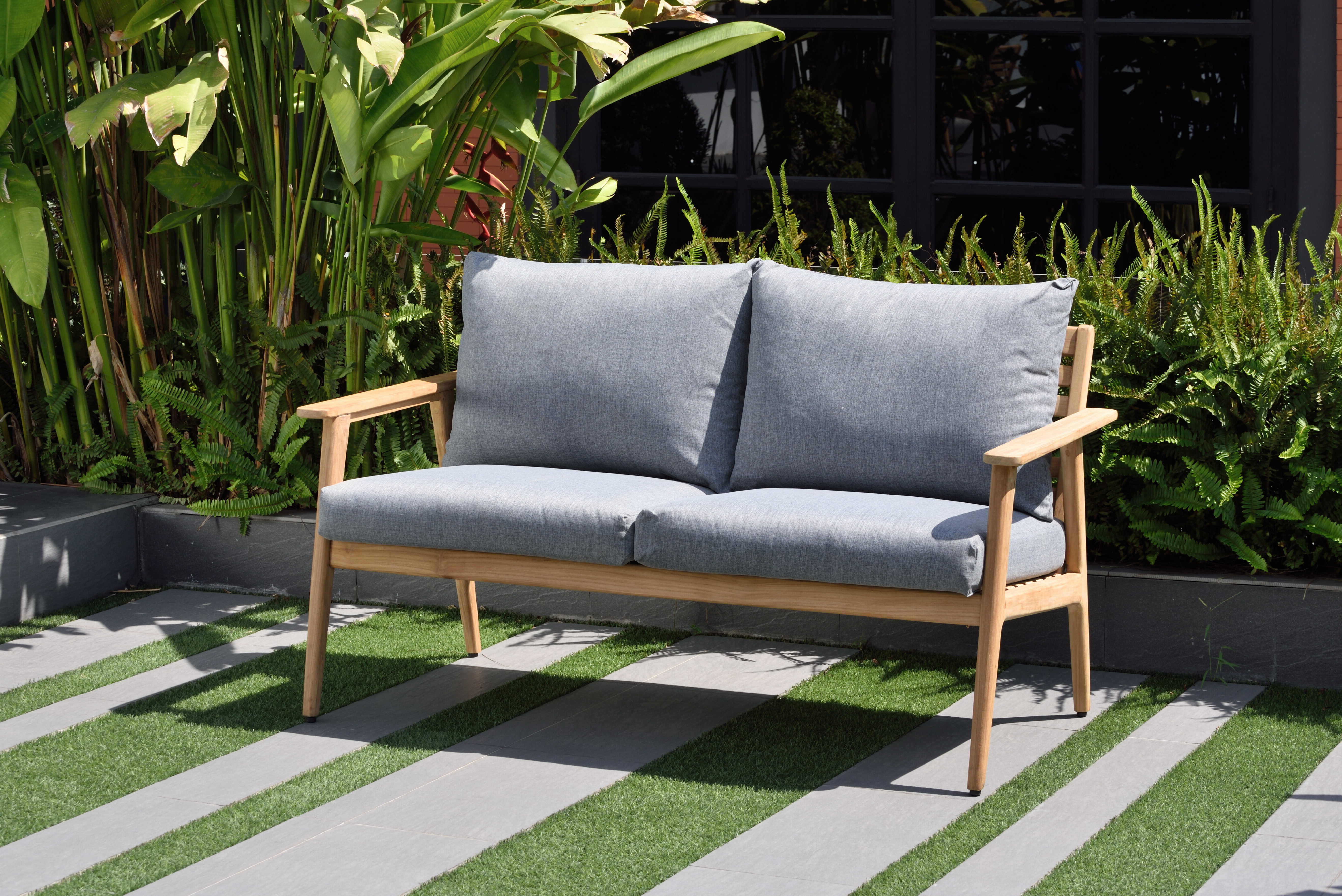 Popular Lakeland Teak Patio Sofas With Cushions Throughout Darrah Deep Seating Teak Patio Sofa With Cushions (View 17 of 20)
