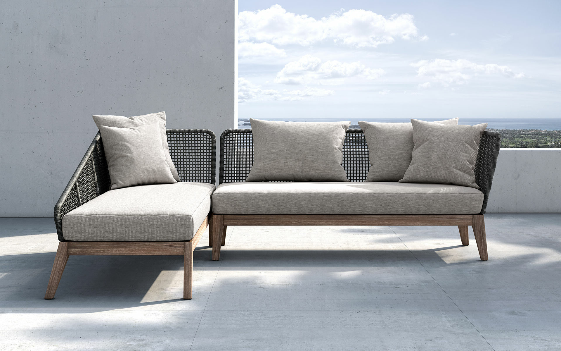 Popular Netta Patio Sectional With Cushion Inside Greta Living Patio Sectionals With Cushions (View 12 of 20)