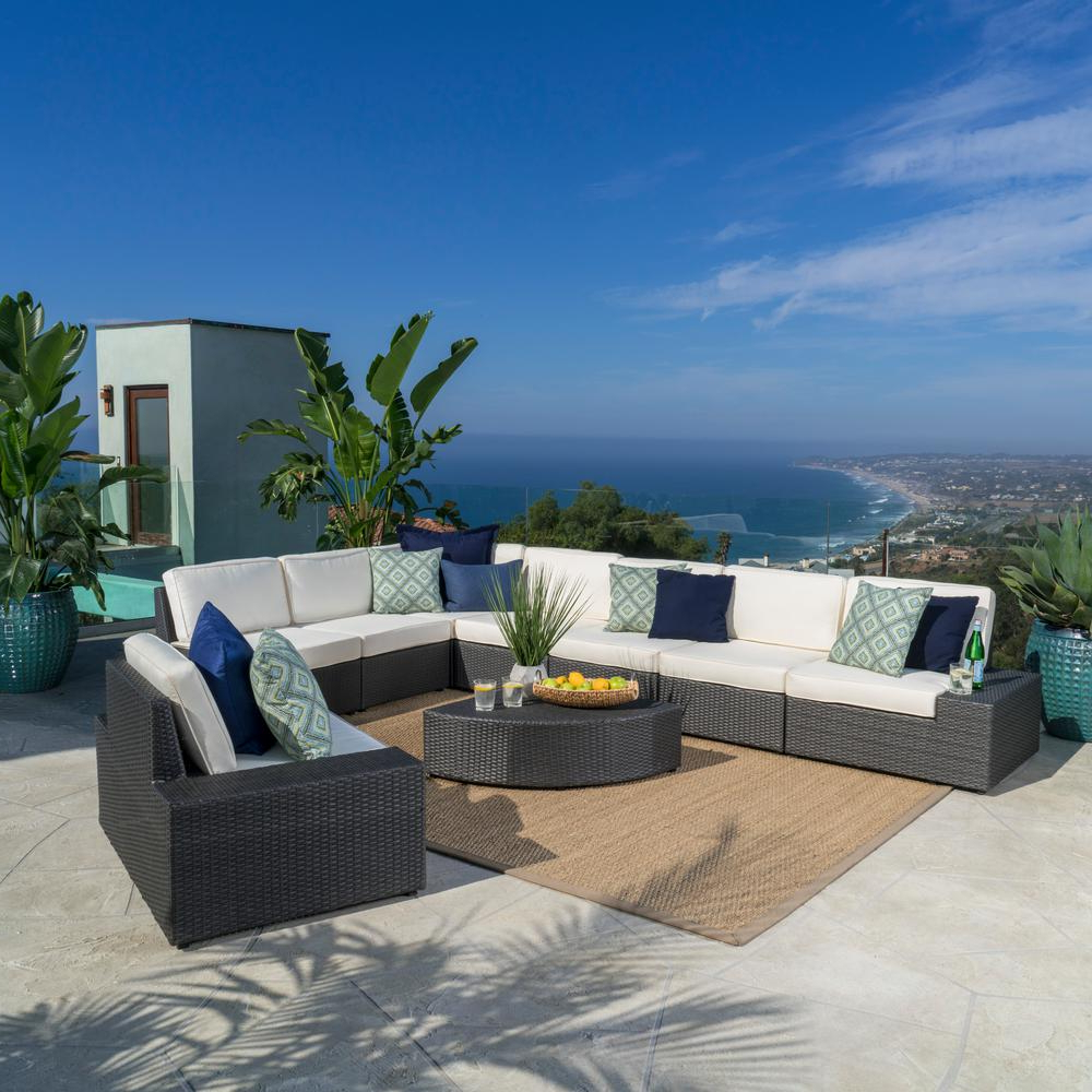 Popular Noble House 9 Piece Wicker Patio Sectional Seating Set With White Cushions With Regard To Greta Living Patio Sectionals With Cushions (View 13 of 20)