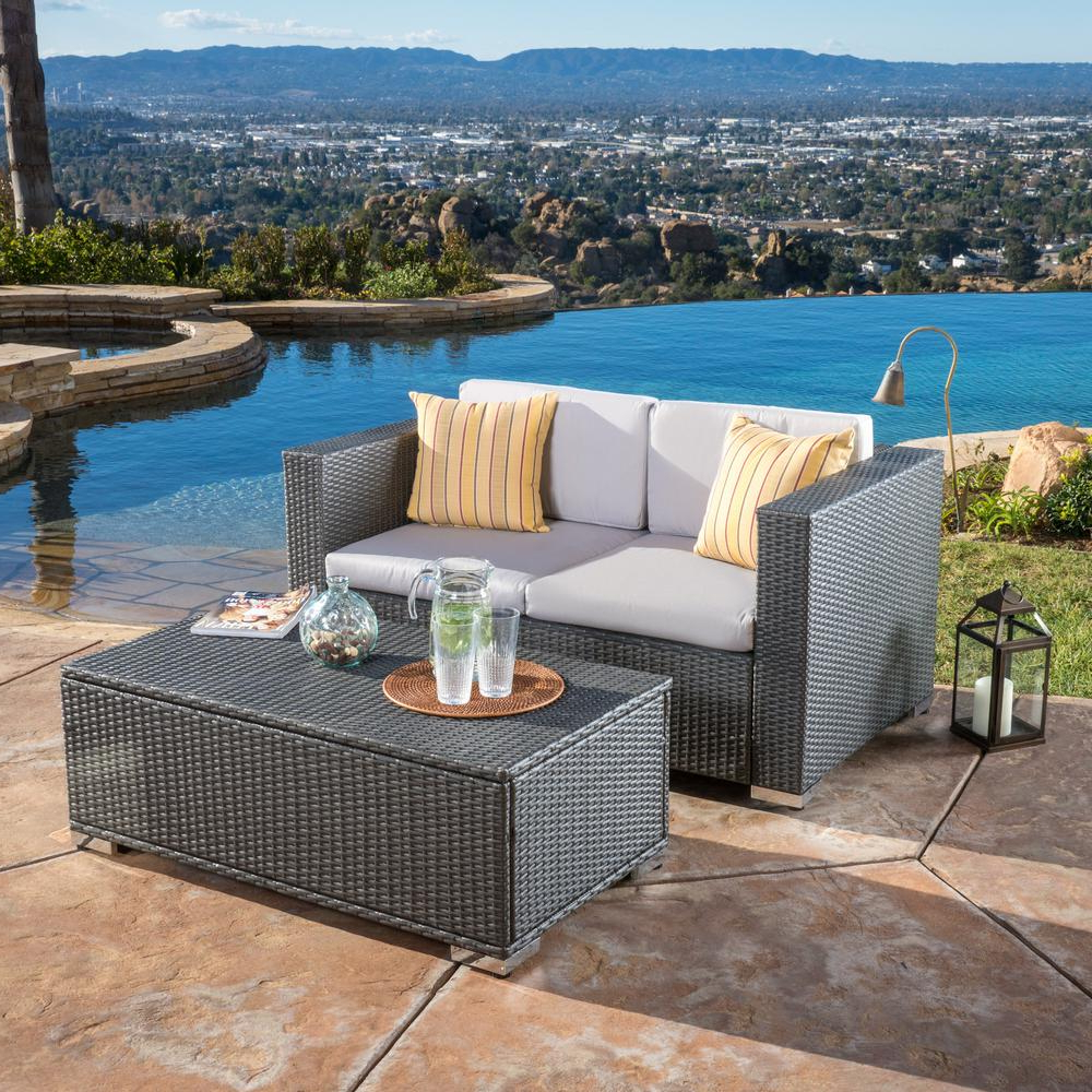 Popular Noble House Florence Grey 2 Piece Wicker Patio Conversation Set With Silver  Grey Cushions Regarding Greta Living Patio Sectionals With Cushions (View 14 of 20)