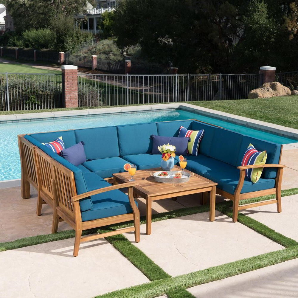 Popular Noble House Giancarlo Teak Finish 9 Piece Wood Outdoor Regarding Antonia Teak Patio Sectionals With Cushions (View 20 of 25)