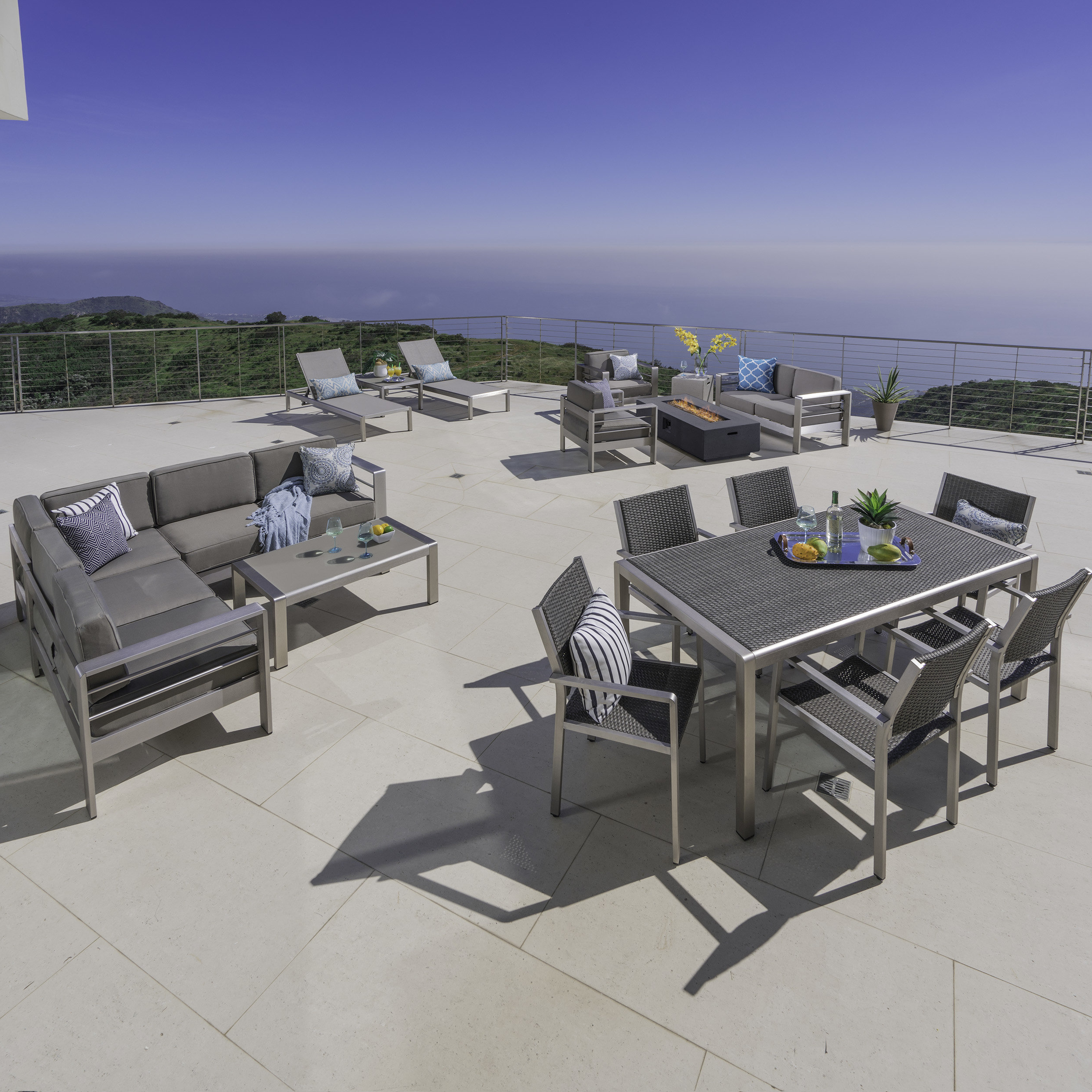 Popular Royalston Patio Sofas With Cushions For Royalston 17 Piece Conversation Set With Cushions (View 7 of 20)