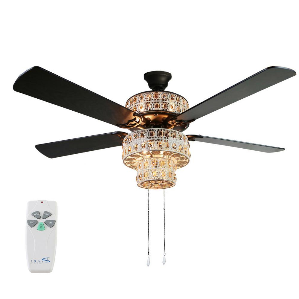 Popular Tibuh Punched Metal Crystal 5 Blade Ceiling Fans With Remote With River Of Goods Bohemian 52 In (View 2 of 20)
