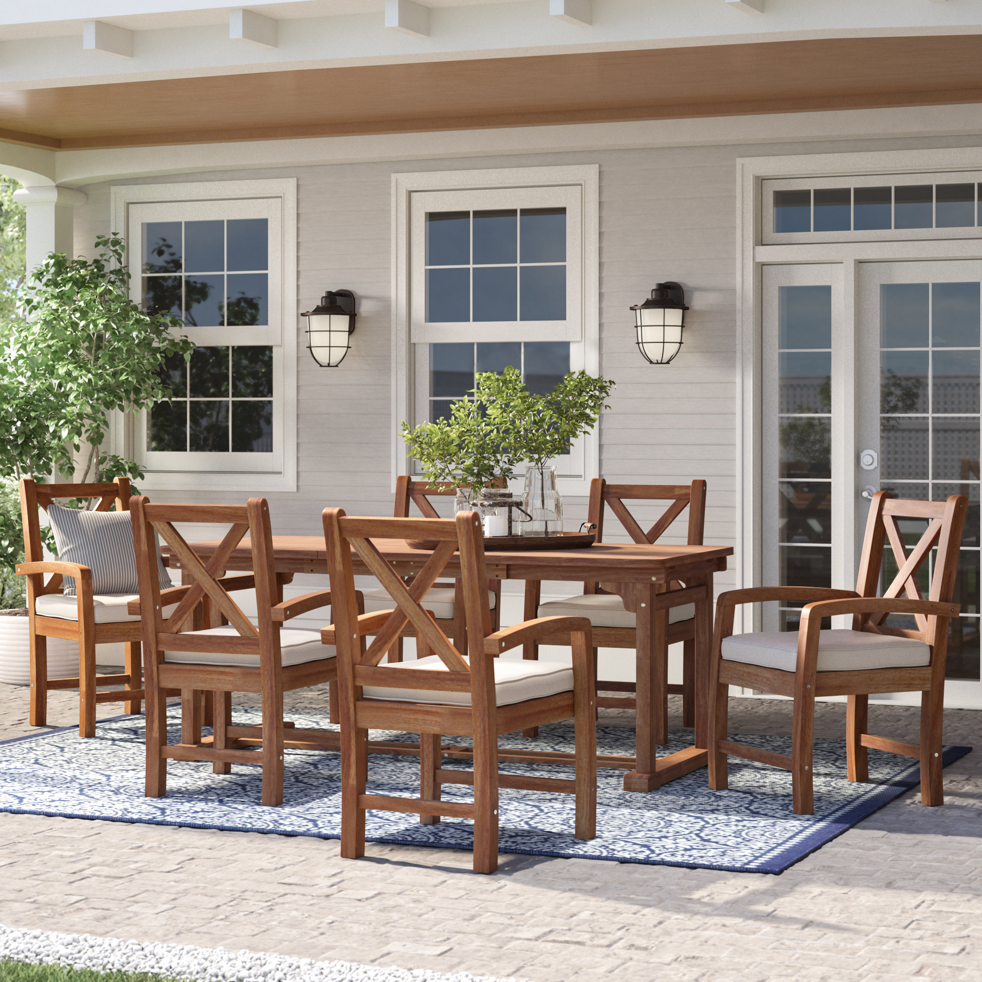 Popular Tim X Back Patio Loveseats With Cushions For Tim X Back Patio 7 Piece Dining Set With Cushions (View 6 of 20)