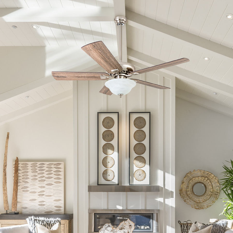 "Popular Tyree 3 Blade Ceiling Fans With 52"" Tyree 5 Blade Led Ceiling Fan (View 14 of 20)"