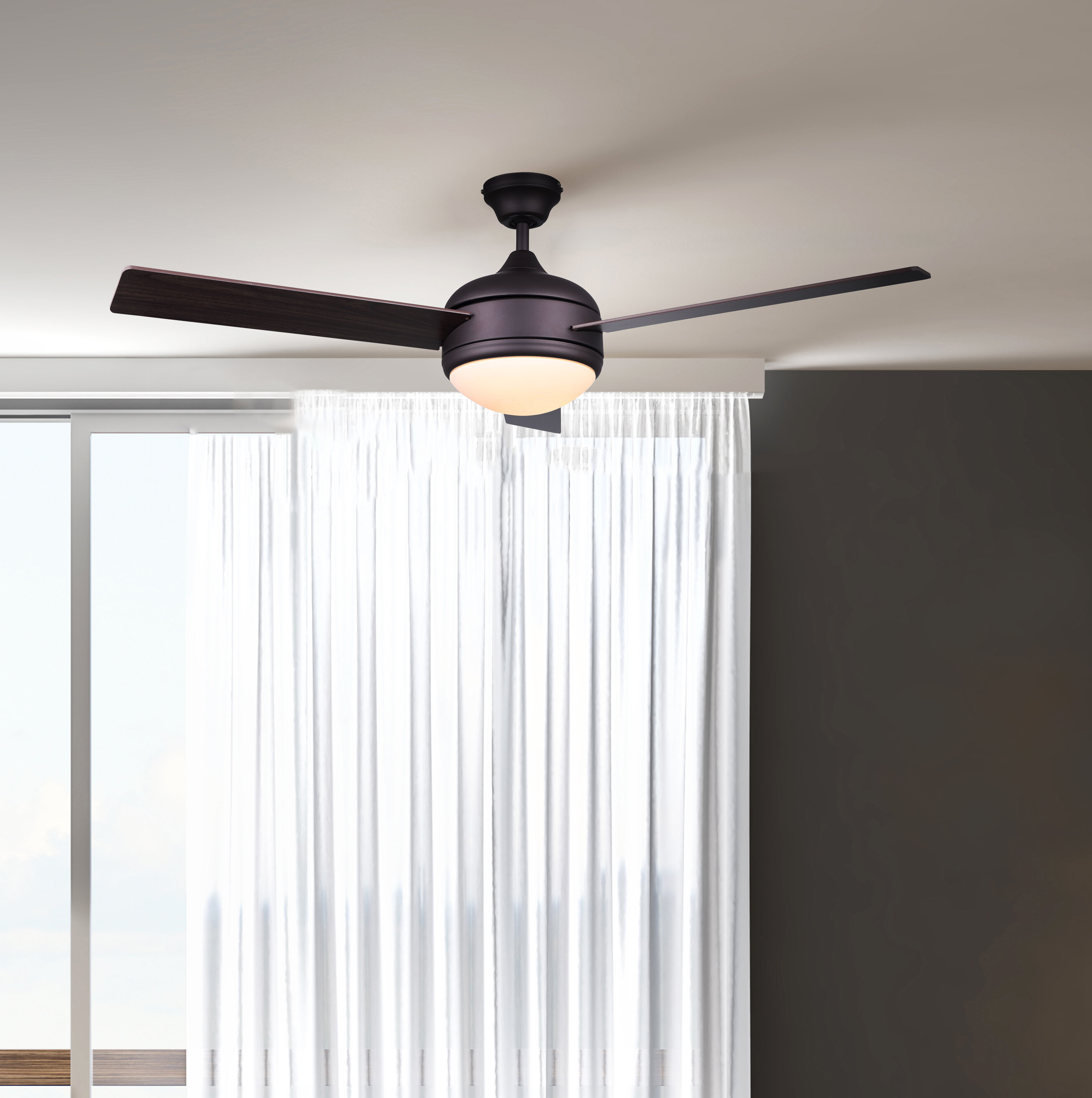 "Preferred 48"" Kandi 3 Blade Ceiling Fan With Remote, Light Kit Included In Dennis 3 Blade Ceiling Fans (Gallery 6 of 20)"