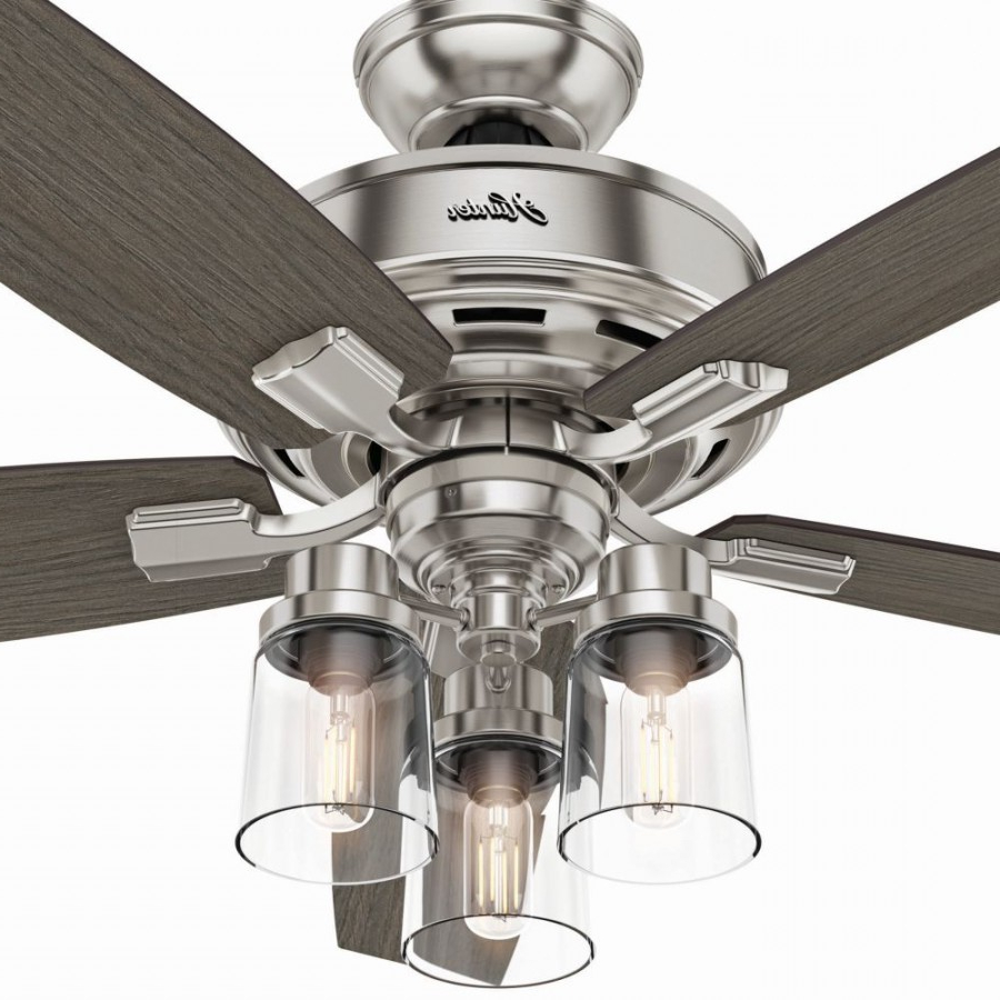 Preferred Bennett 5 Blade Ceiling Fans With Remote Intended For Hunter 54190 Bennett 3 Led Light 52 Inch Ceiling Fans In Brushed Nickel  With 5 Grey Walnut Blade And Clear Glass (View 16 of 20)