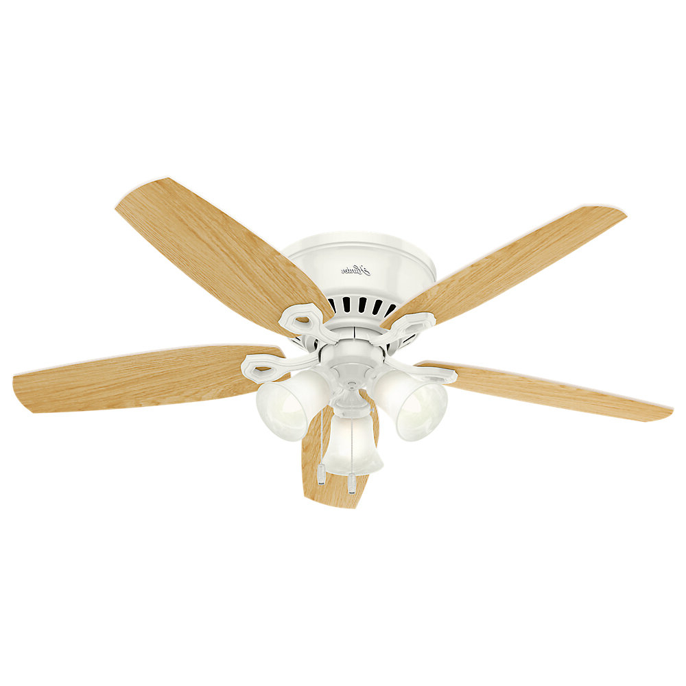"Preferred Builder Low Profile 5 Blade Ceiling Fans Pertaining To 52"" Builder Low Profile 5 Blade Ceiling Fan, Light Kit Included (Gallery 1 of 20)"