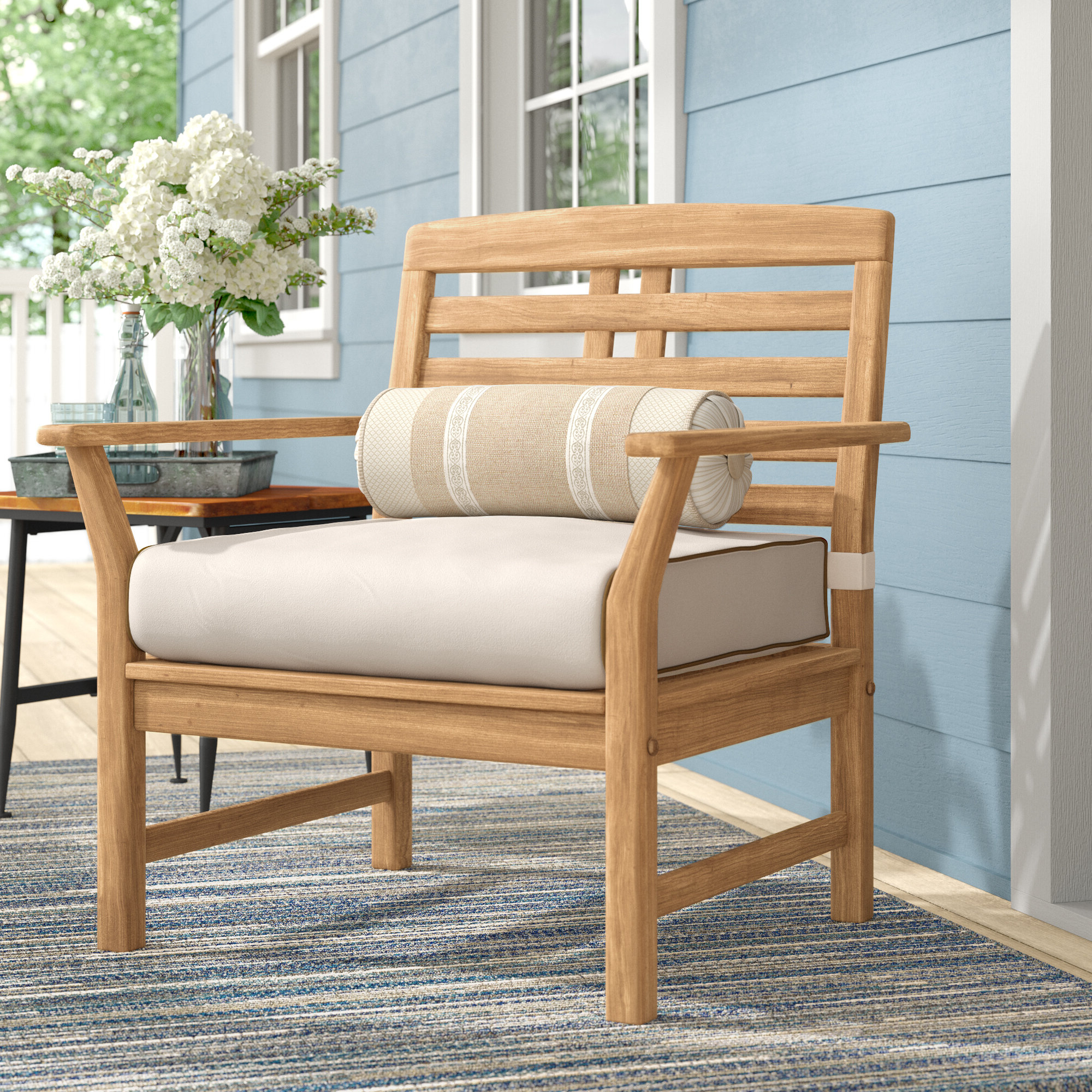 Preferred Calila Teak Loveseats With Cushion For Calila Teak Patio Chair With Cushions (View 7 of 20)