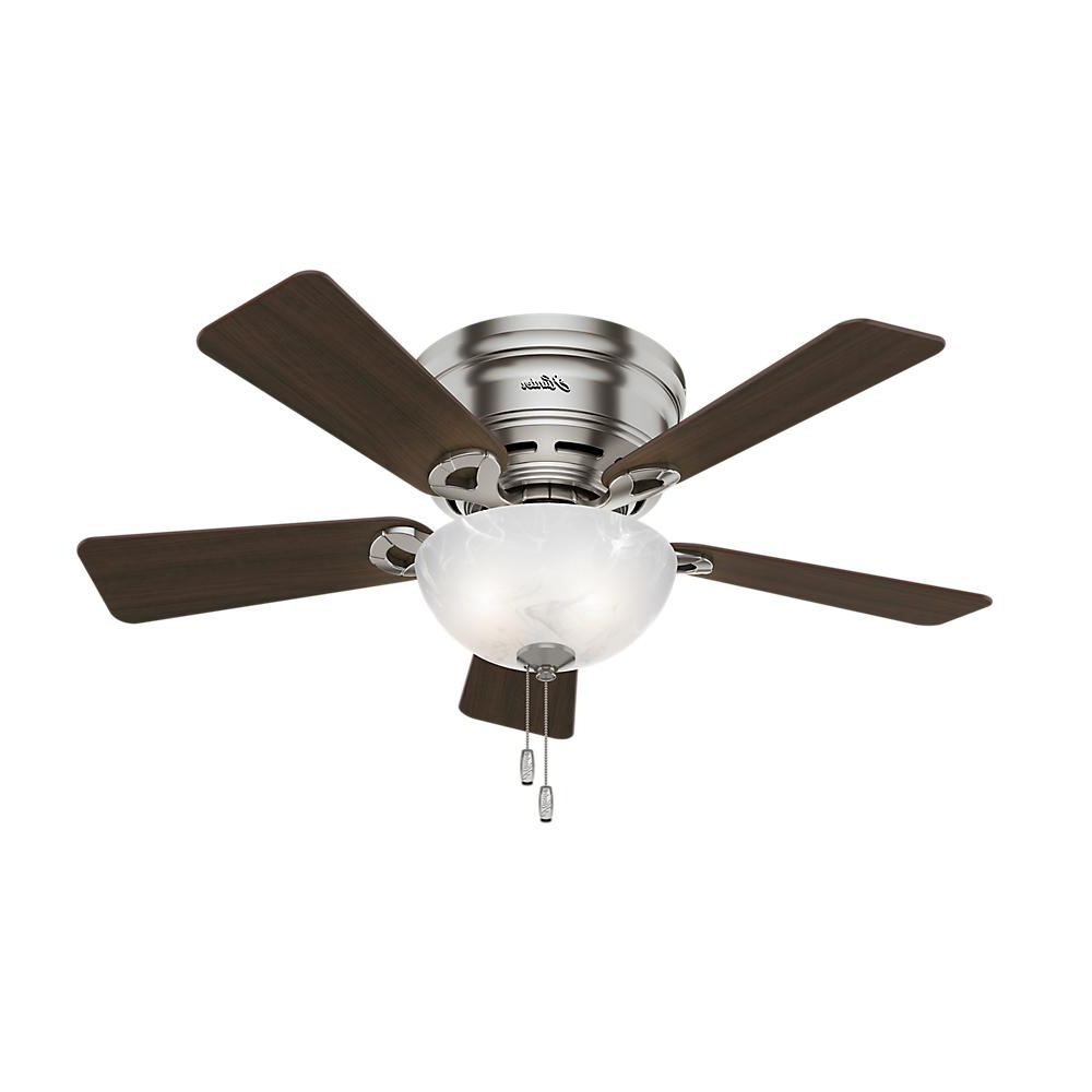 Preferred Crestfield 5 Blade Ceiling Fans Pertaining To Hunter Haskell 42 In. Low Profile Indoor Brushed Nickel (Gallery 19 of 20)