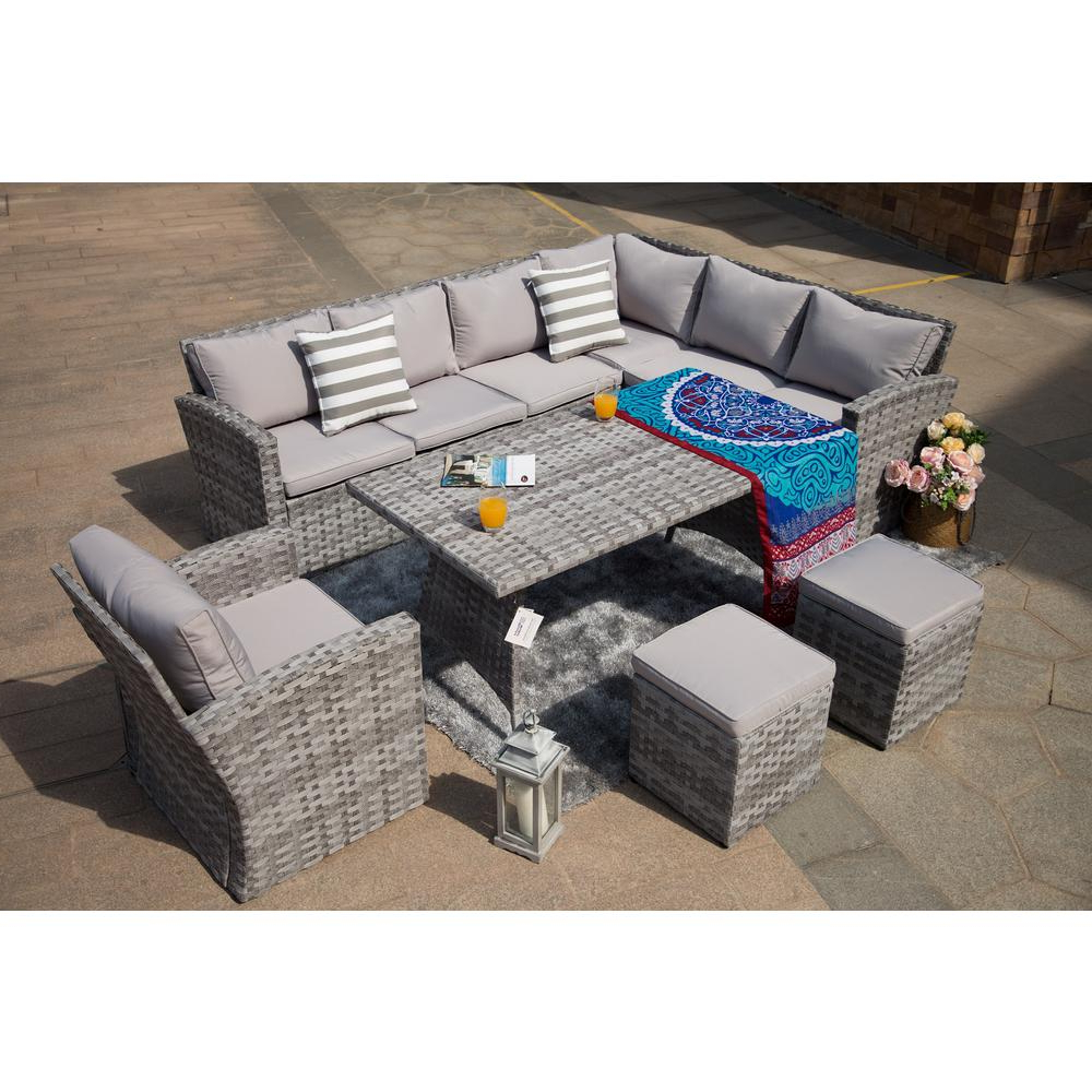 Preferred Direct Wicker Keiran 6 Piece Wicker Patio Conversation Set With Grey Cushions Pertaining To Keiran Patio Sofas With Cushions (Gallery 5 of 20)