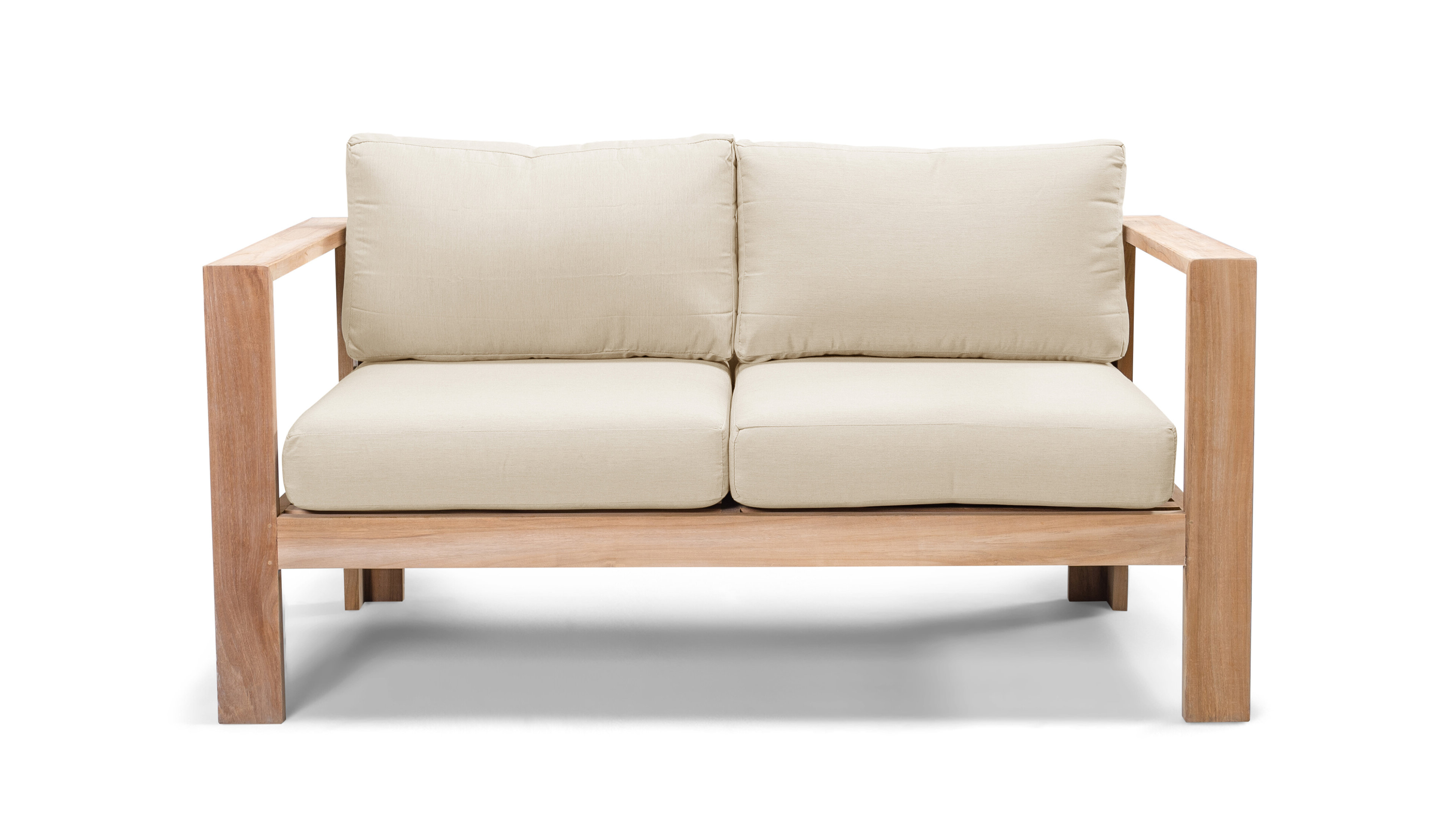 Preferred Gillian Loveseat With Cushions Pertaining To Calila Teak Loveseats With Cushion (View 17 of 20)