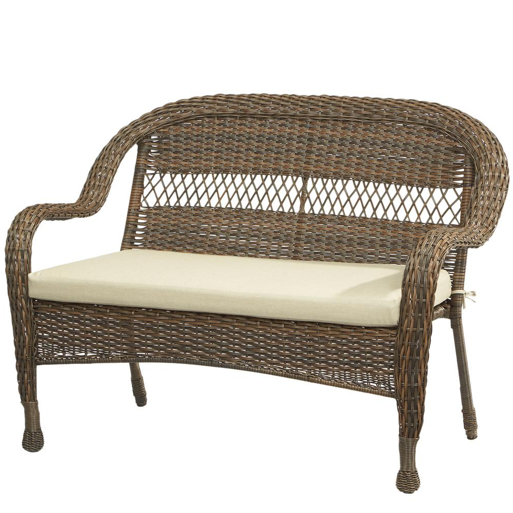 Preferred Hampton Bay Mix And Match Brown Wicker Outdoor Stack Loveseat With Beige  Cushion For Wicker Loveseats (View 11 of 20)
