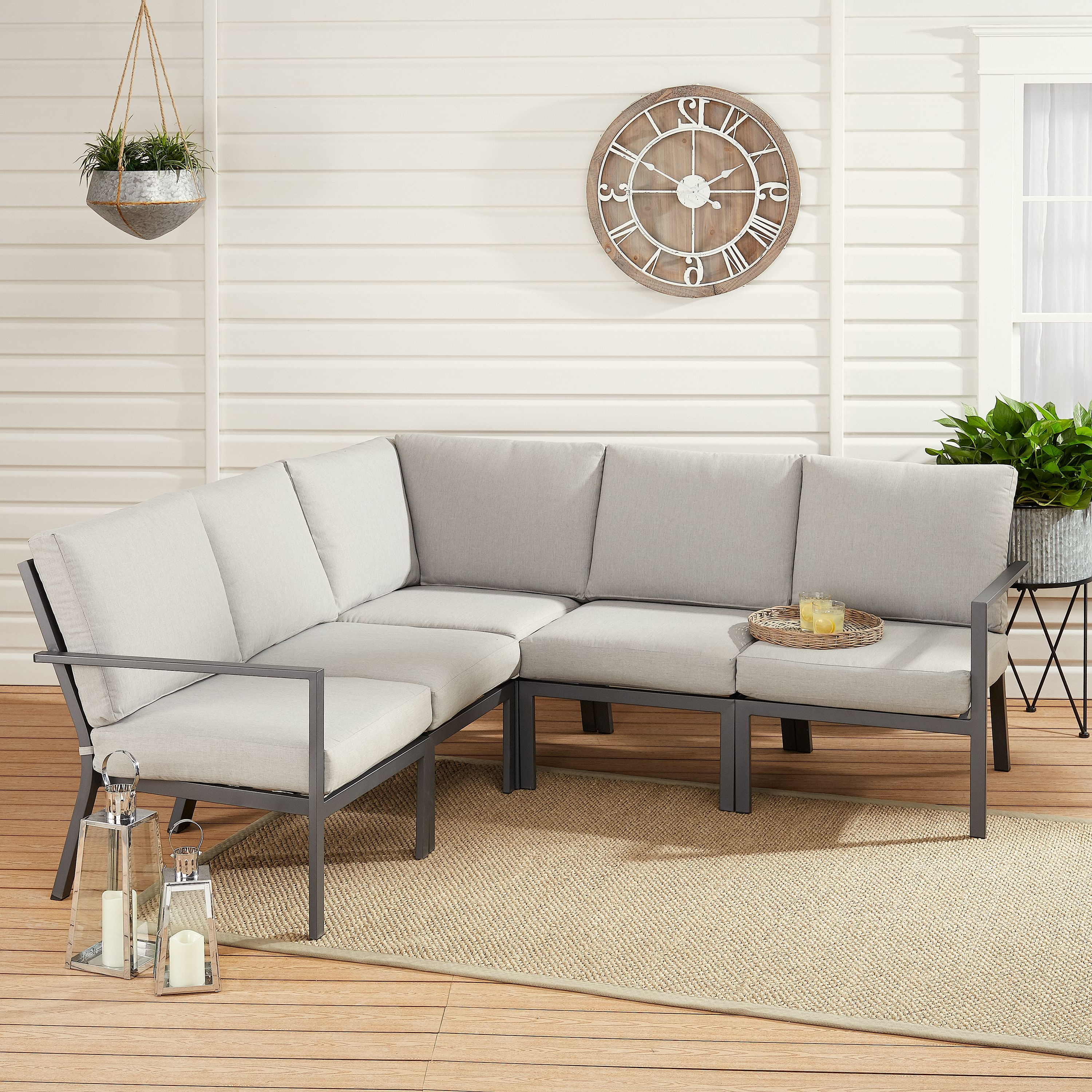 Preferred Hursey Patio Sofas With Mainstays Neste Ridge 5 Piece Patio Sectional Set With Gray (View 16 of 20)