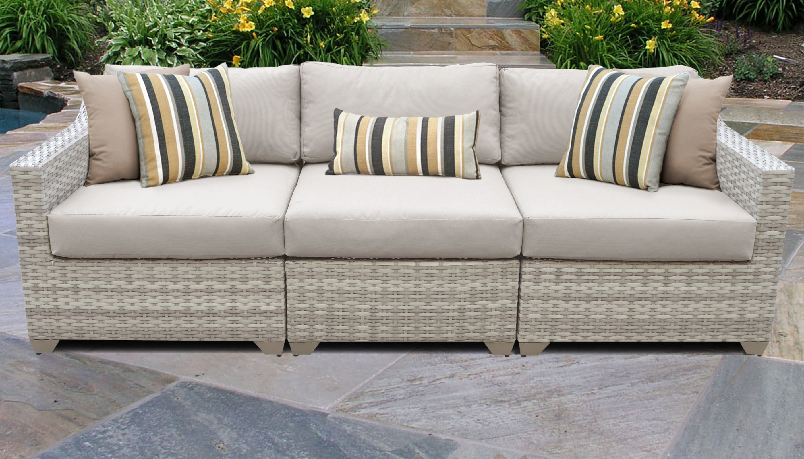 Preferred Keever Patio Sofas With Sunbrella Cushions Inside Genevieve Wicker Patio Sofa With Cushions (View 7 of 20)