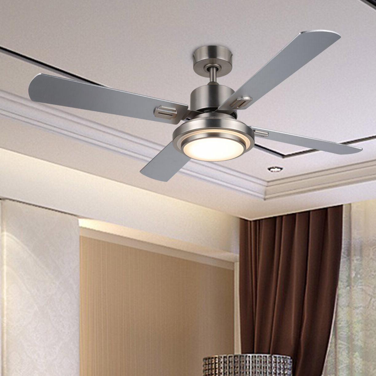 """Preferred Norah 5 Blade Ceiling Fans Pertaining To 52"""" Santaana 4 Blade Led Ceiling Fan With Remote, Light Kit Included (View 16 of 20)"""