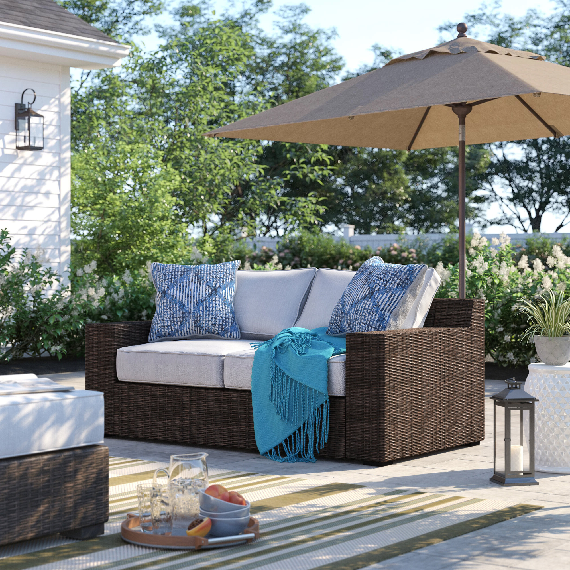 Preferred Oreland Loveseat With Cushions Regarding Provencher Patio Loveseats With Cushions (View 11 of 20)