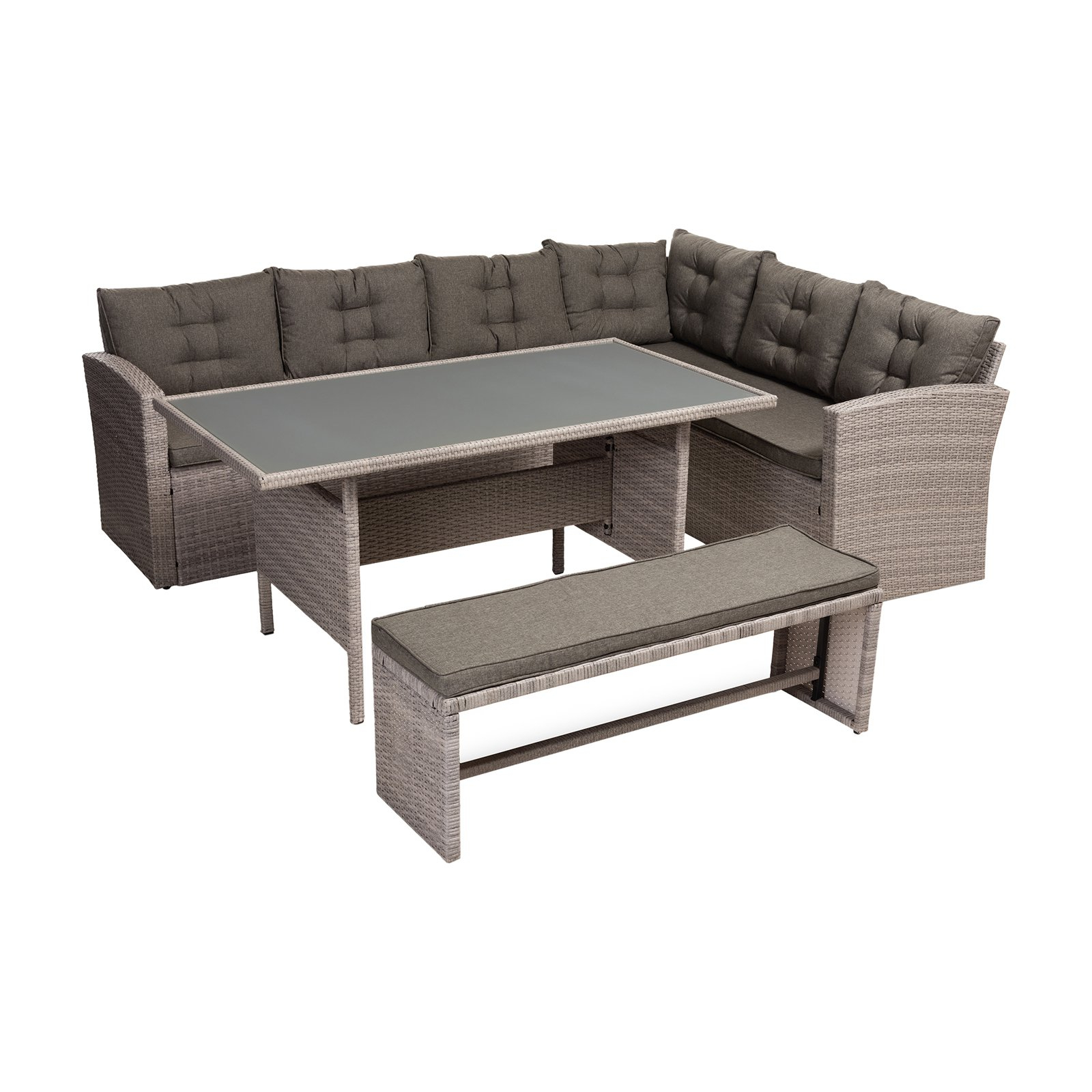 Preferred Outdoor Baxton Studio Eneas Rattan 3 Piece Corner Sofa Patio Pertaining To Rowley Patio Sofas Set With Cushions (View 14 of 20)